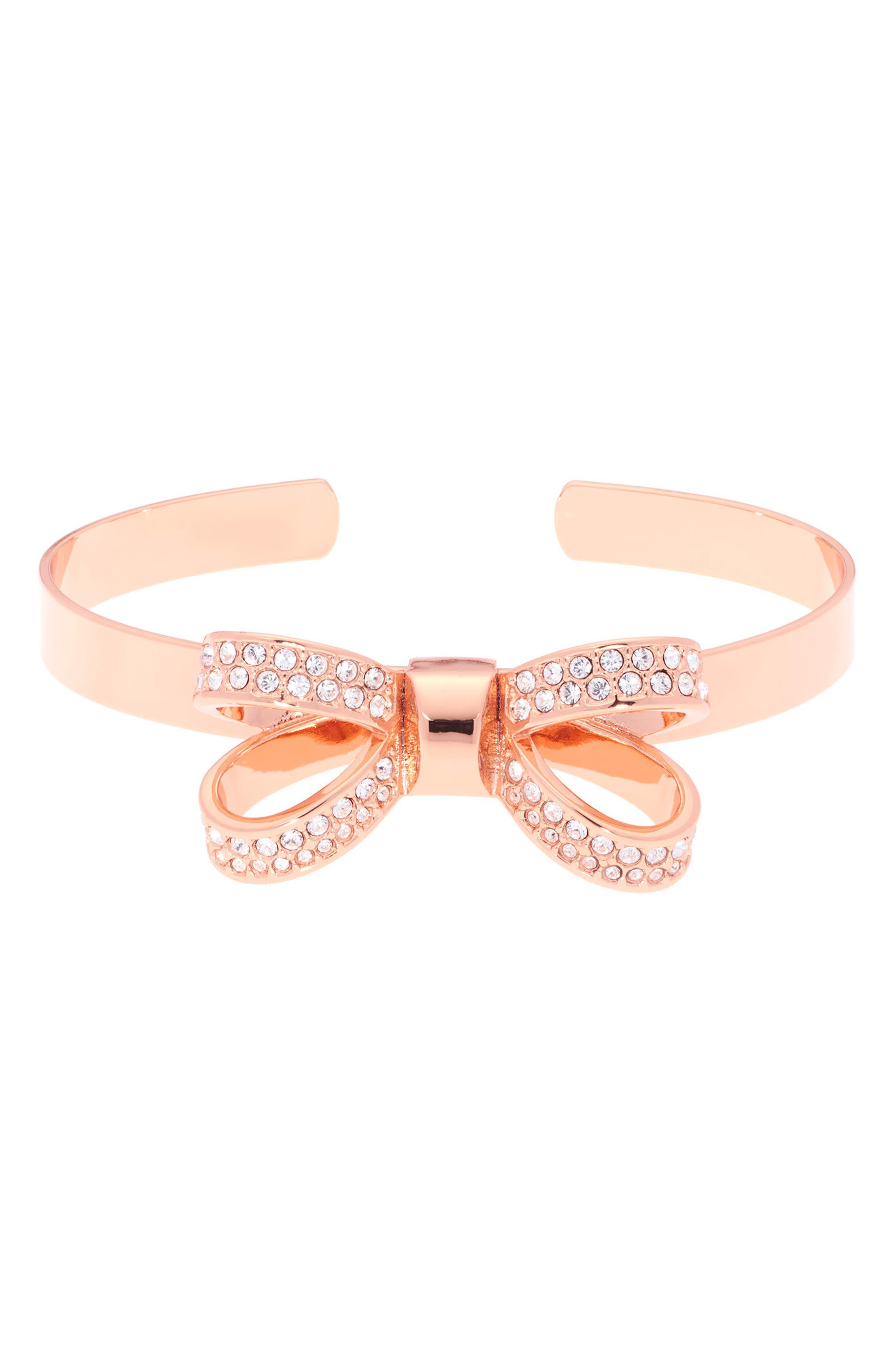 Opulent Pavé Bow Cuff Bracelet,                         Main,                         color, Rose Gold