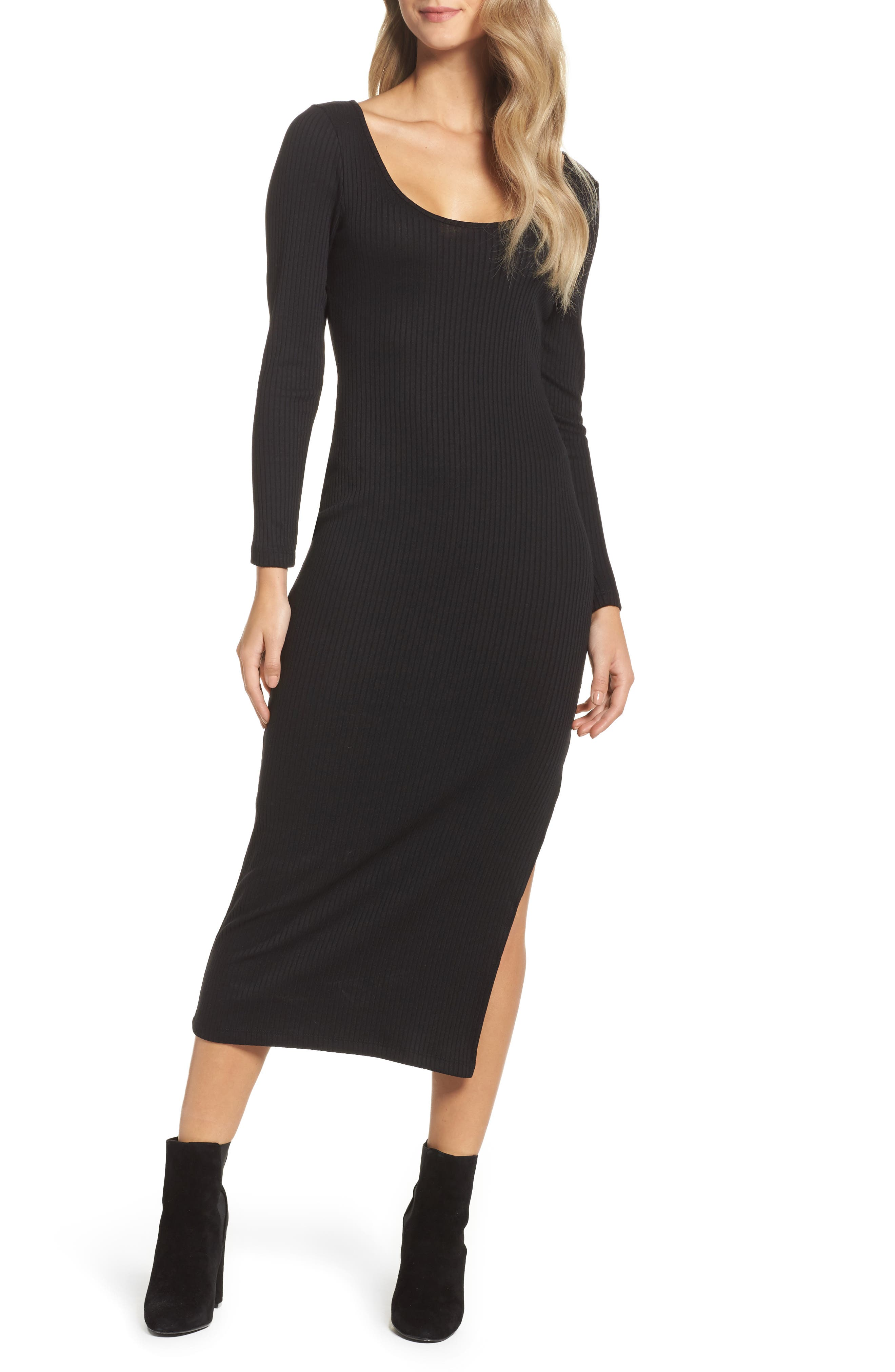 Tommy Ribbed Midi Dress,                             Main thumbnail 1, color,                             Black
