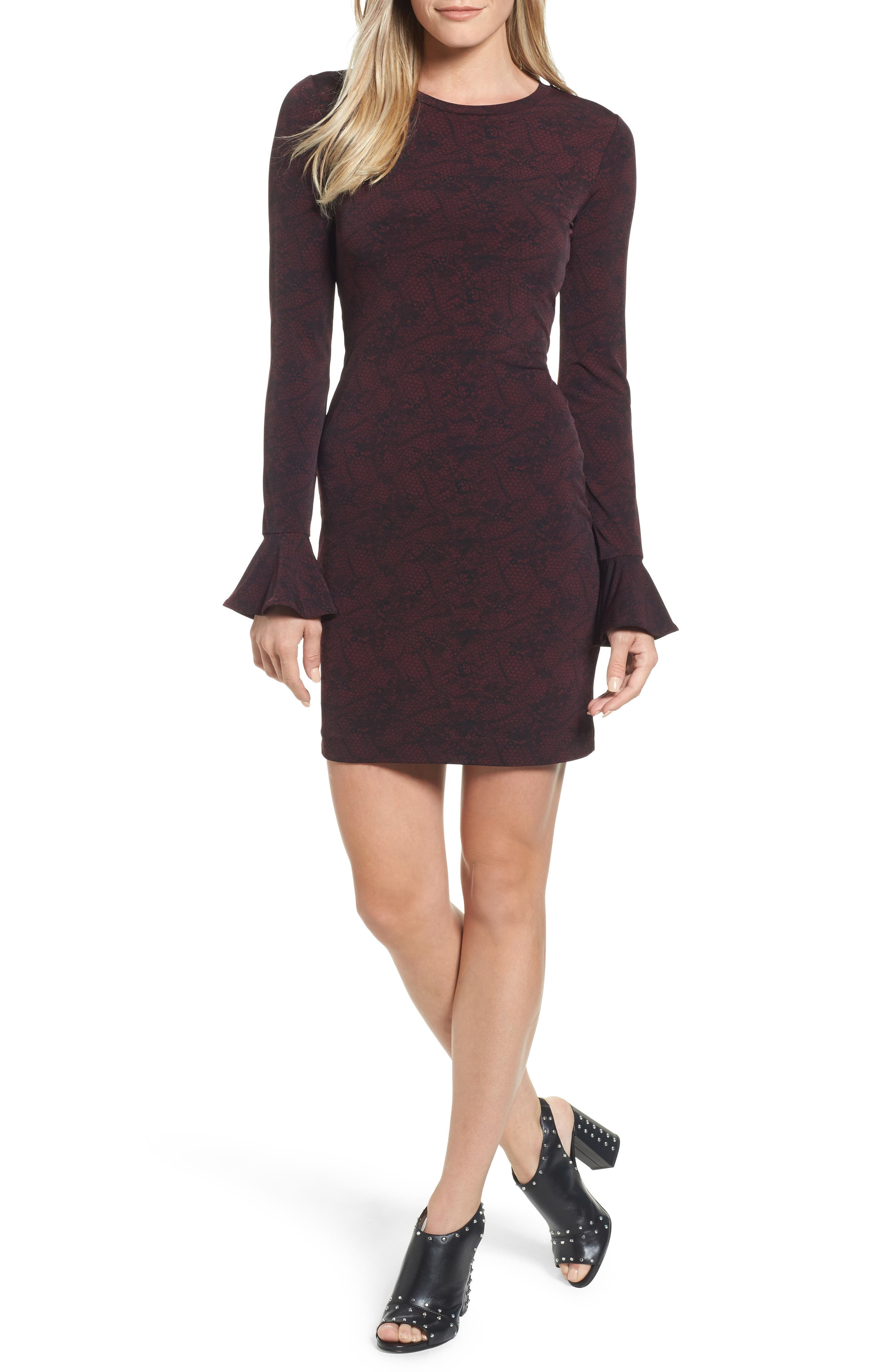 Floral Mesh Dress,                         Main,                         color, Merlot/Black