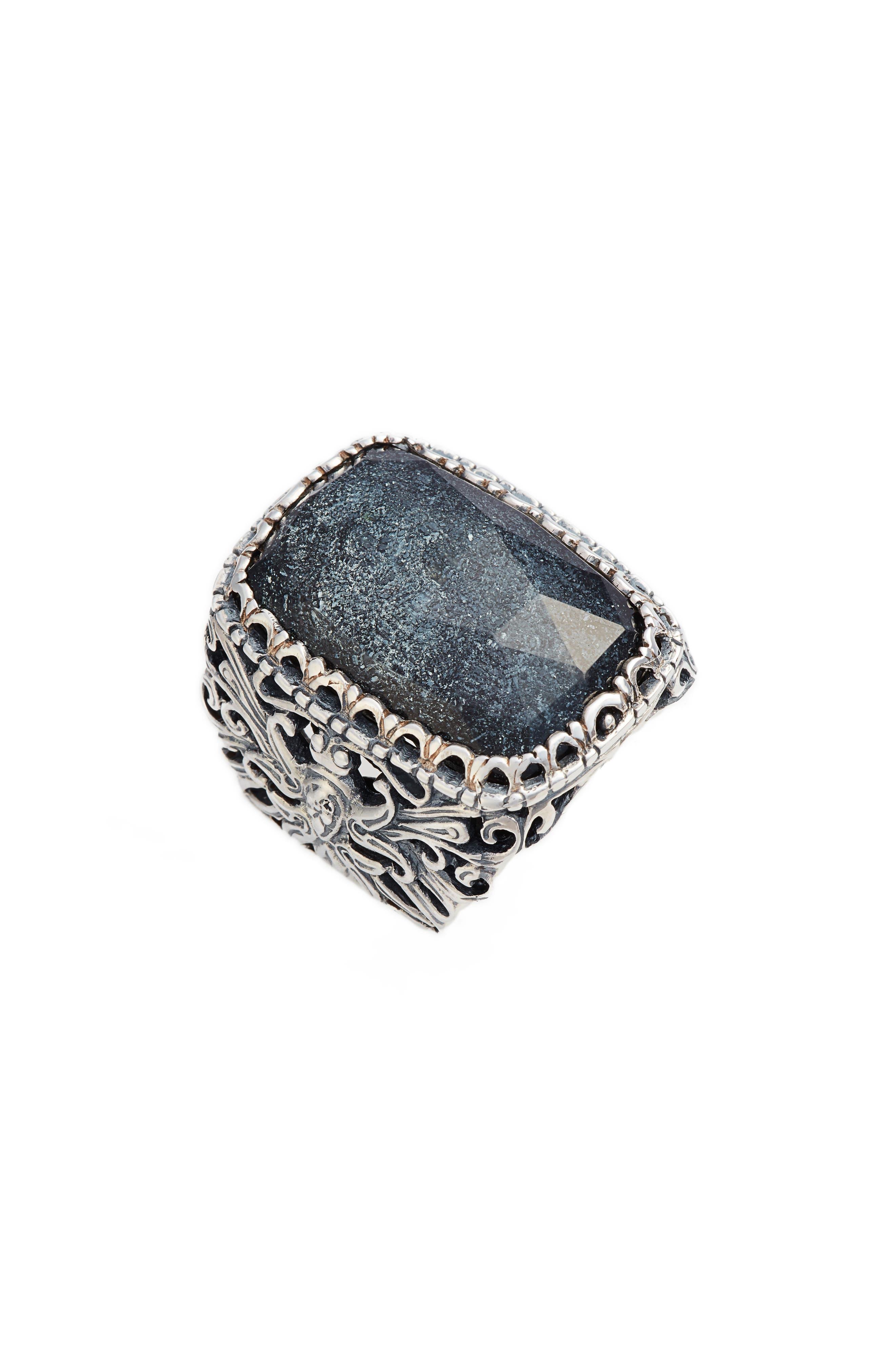 Santorini Hematite Ring,                             Main thumbnail 1, color,                             Silver/ Hematite