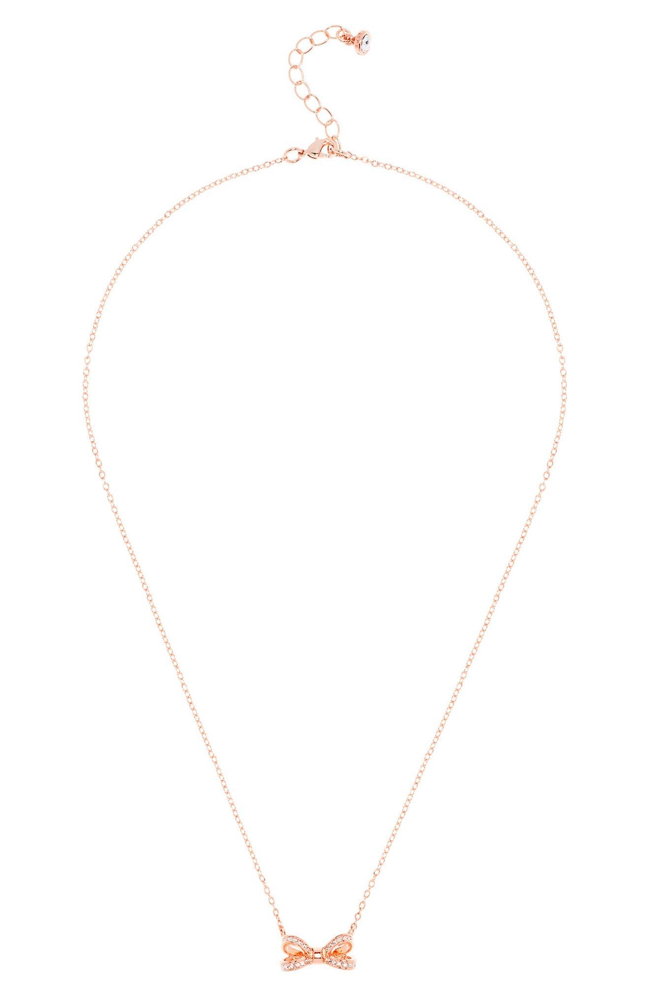 Ted Baker London Opulent Pavé Bow Pendant Necklace