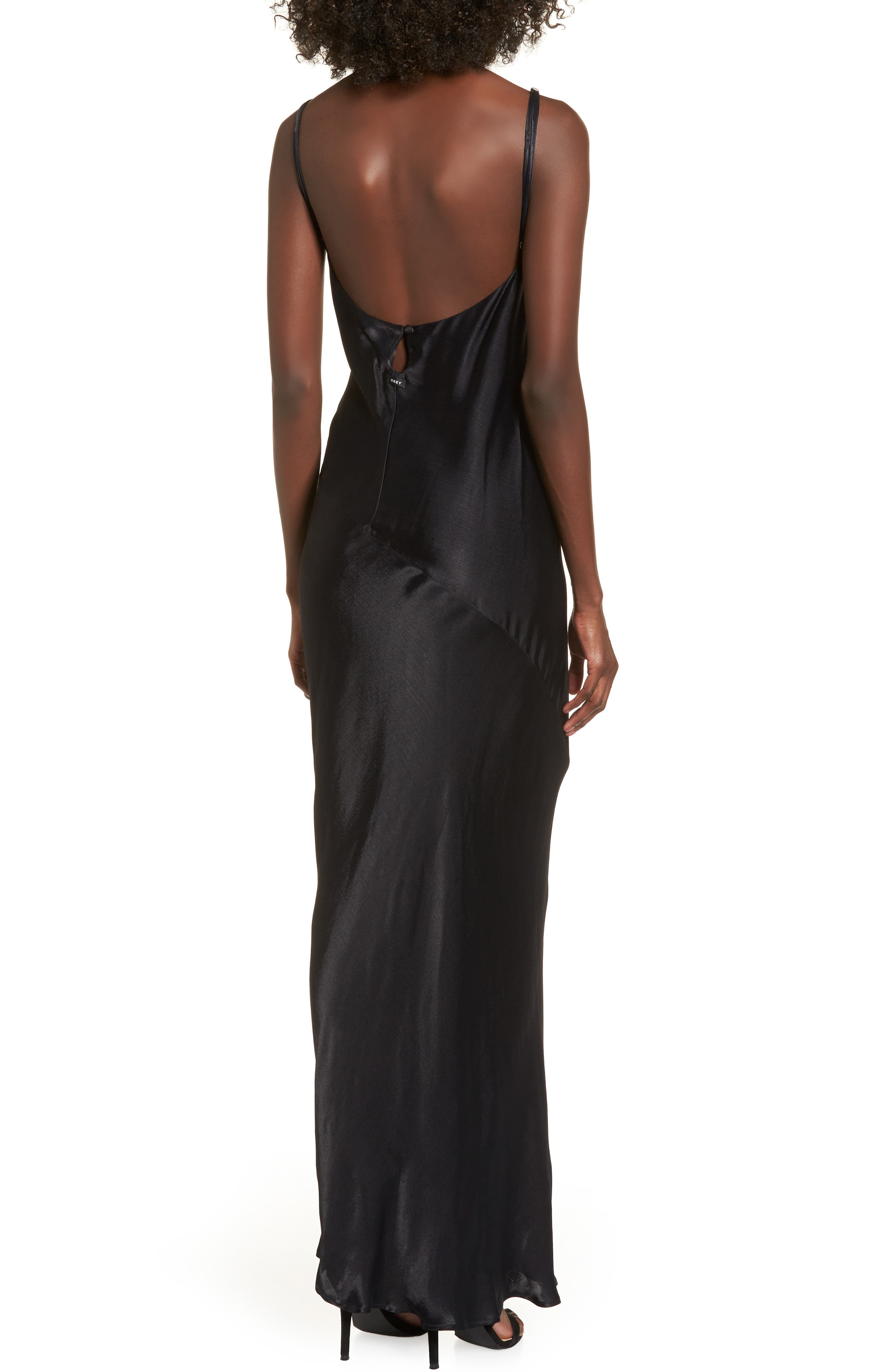 Naomi Maxi Slipdress,                             Alternate thumbnail 2, color,                             Black