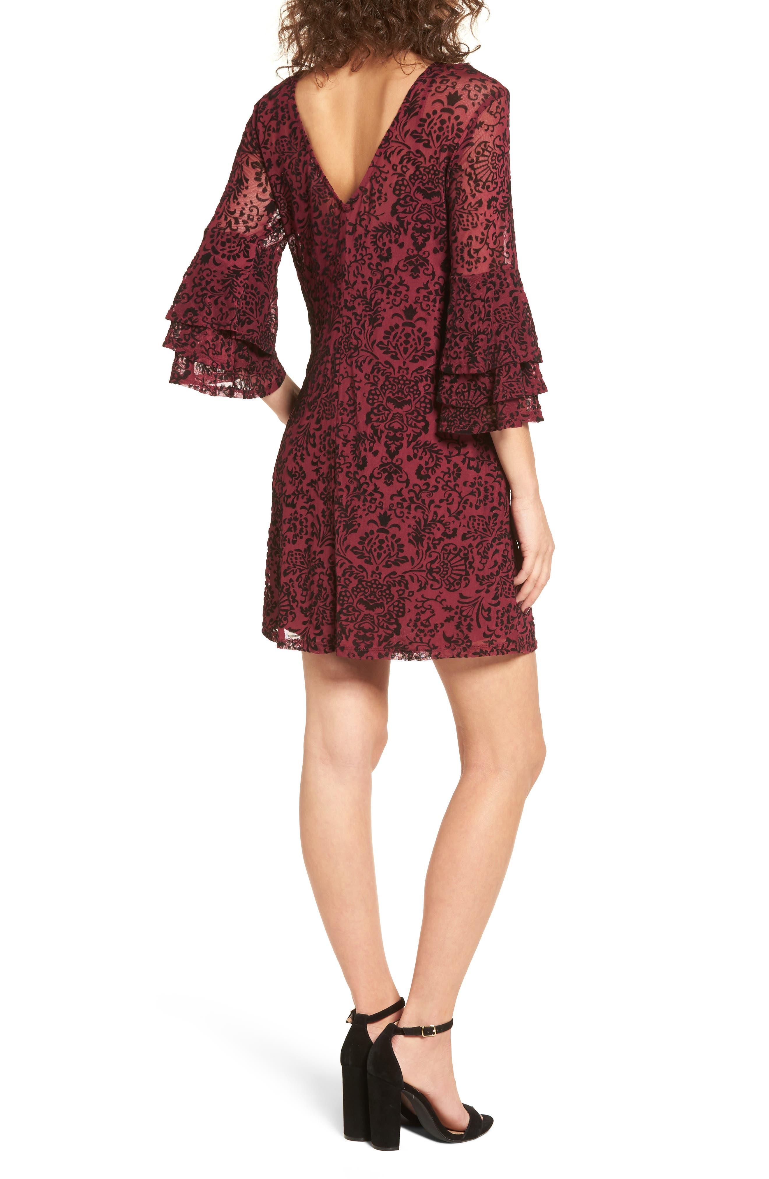 Velvet Detail Minidress,                             Alternate thumbnail 2, color,                             Burgundy/ Black