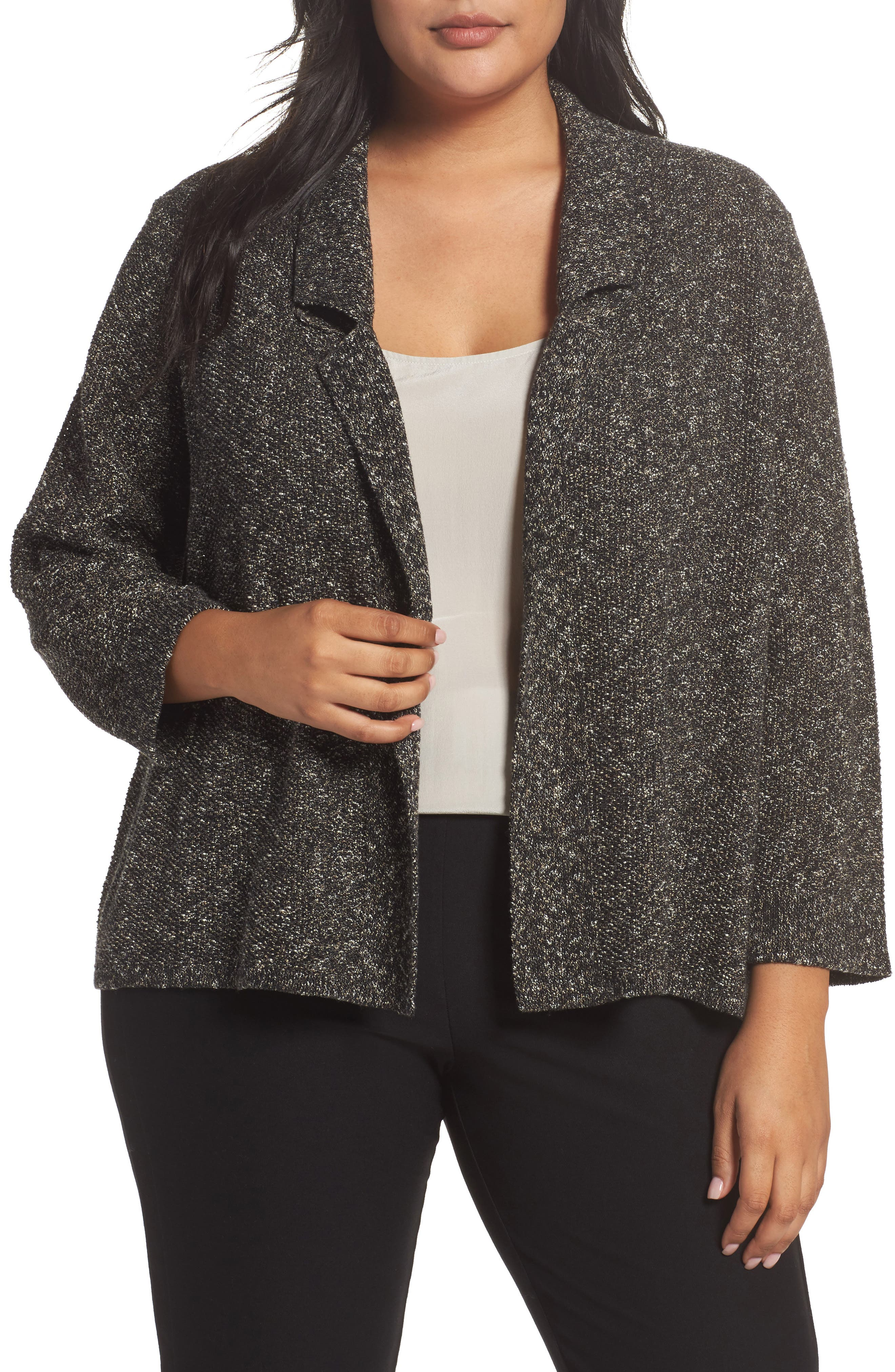 Alternate Image 1 Selected - Eileen Fisher Organic Cotton Blend Sweater Jacket (Plus Size)