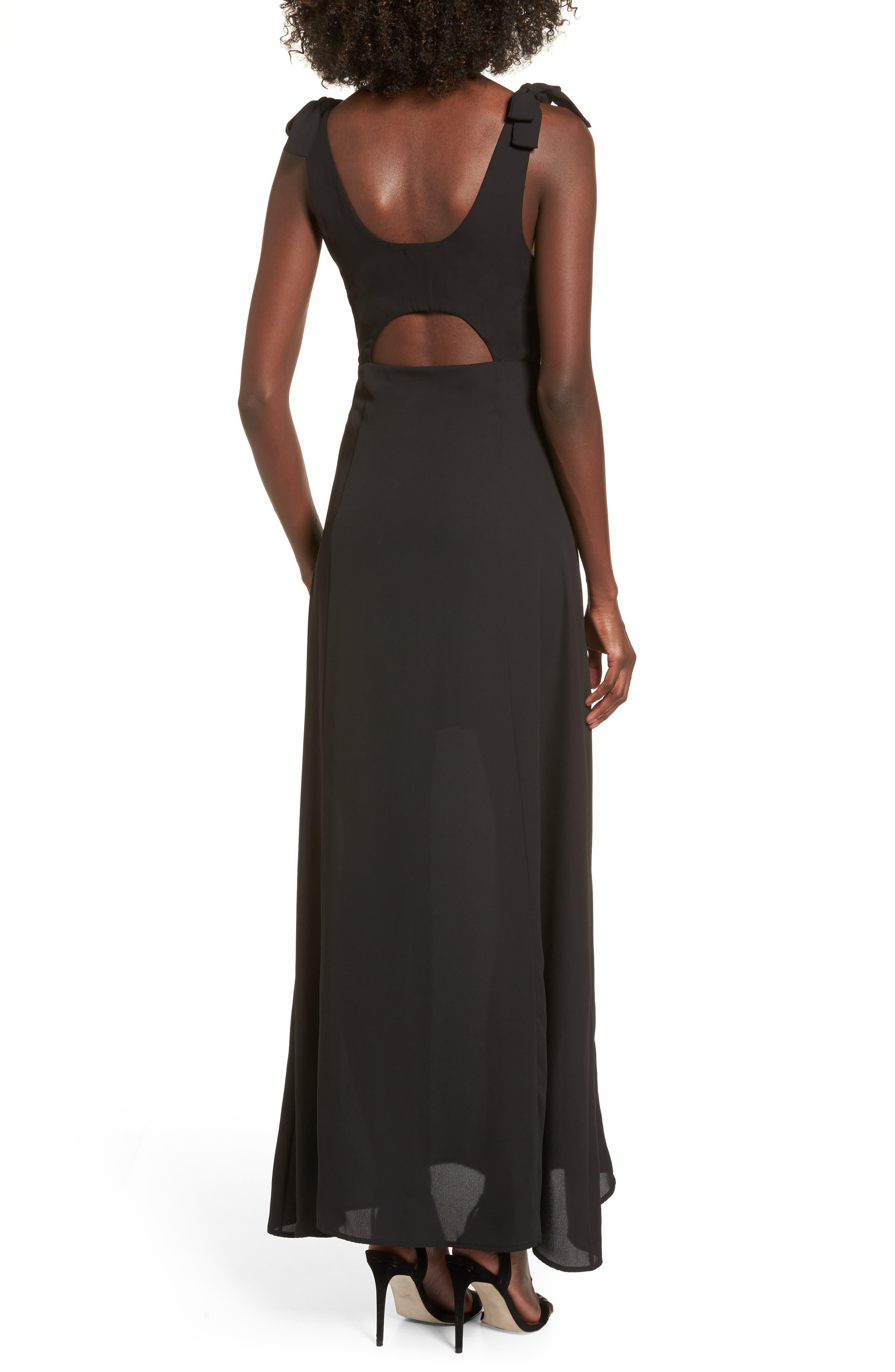 Tie Strap Maxi Dress,                             Alternate thumbnail 2, color,                             Black