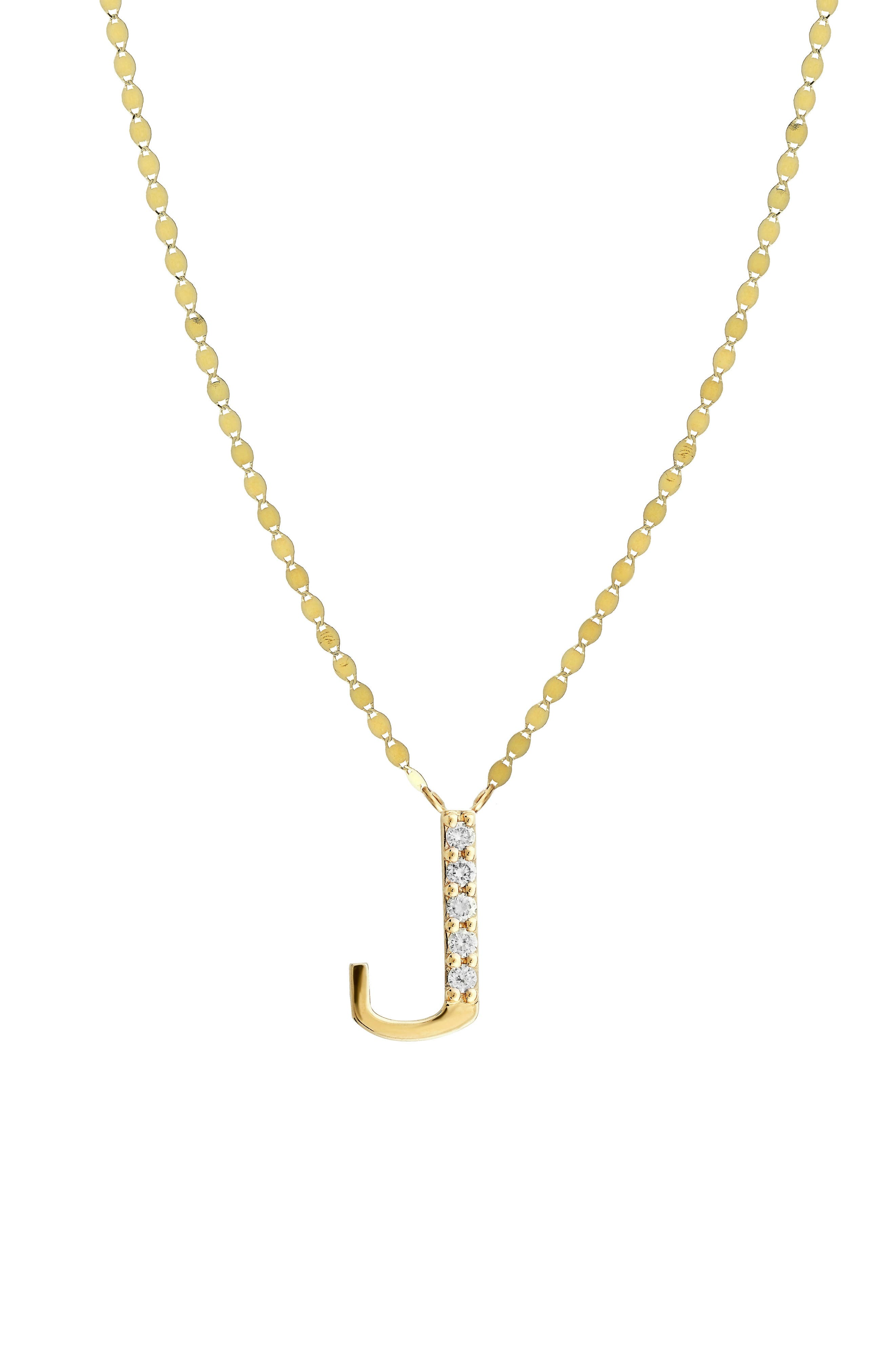 Initial Pendant Necklace,                             Main thumbnail 1, color,                             Yellow Gold- J