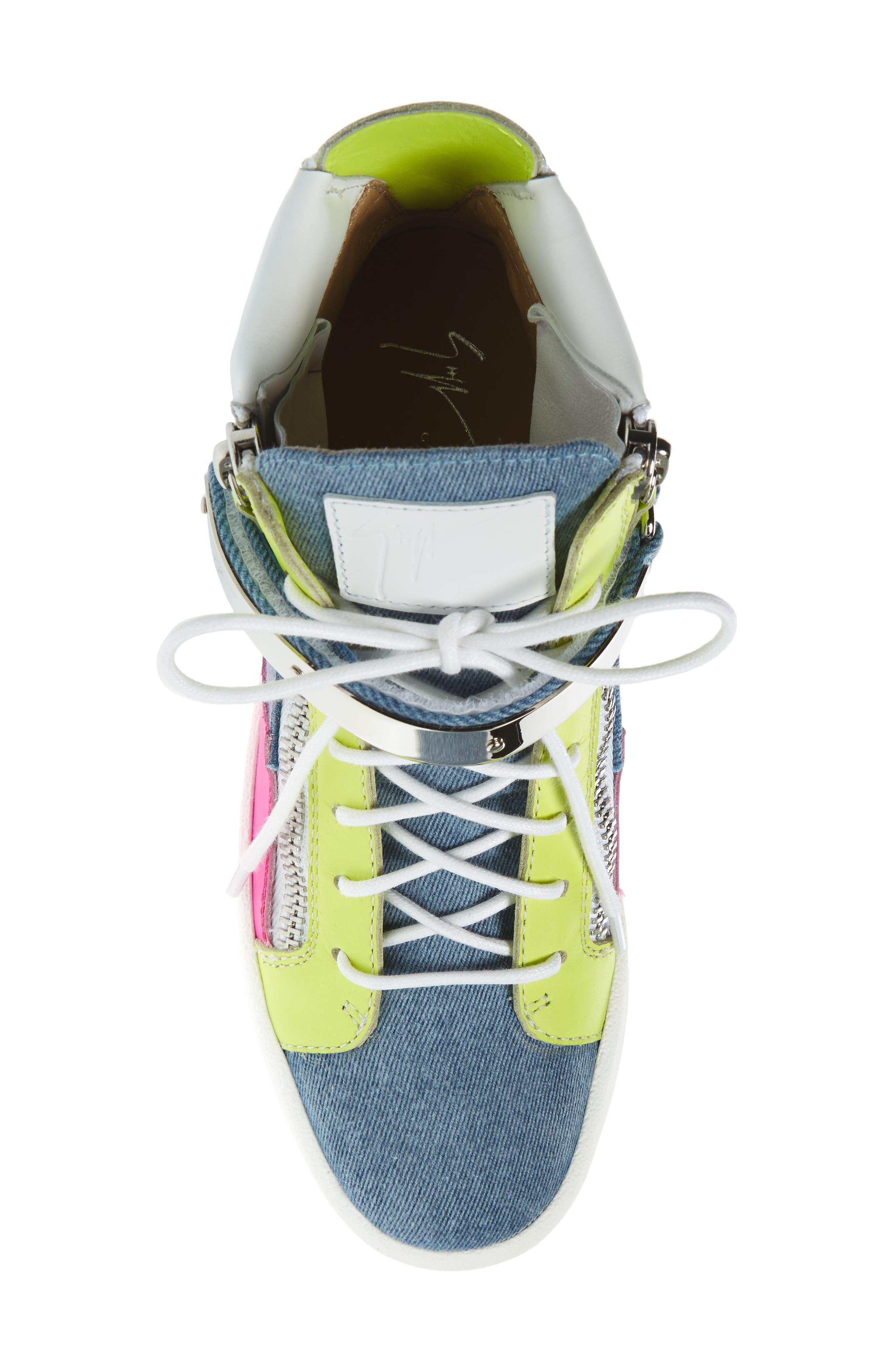 May London High Top Sneaker,                             Alternate thumbnail 5, color,                             Denim