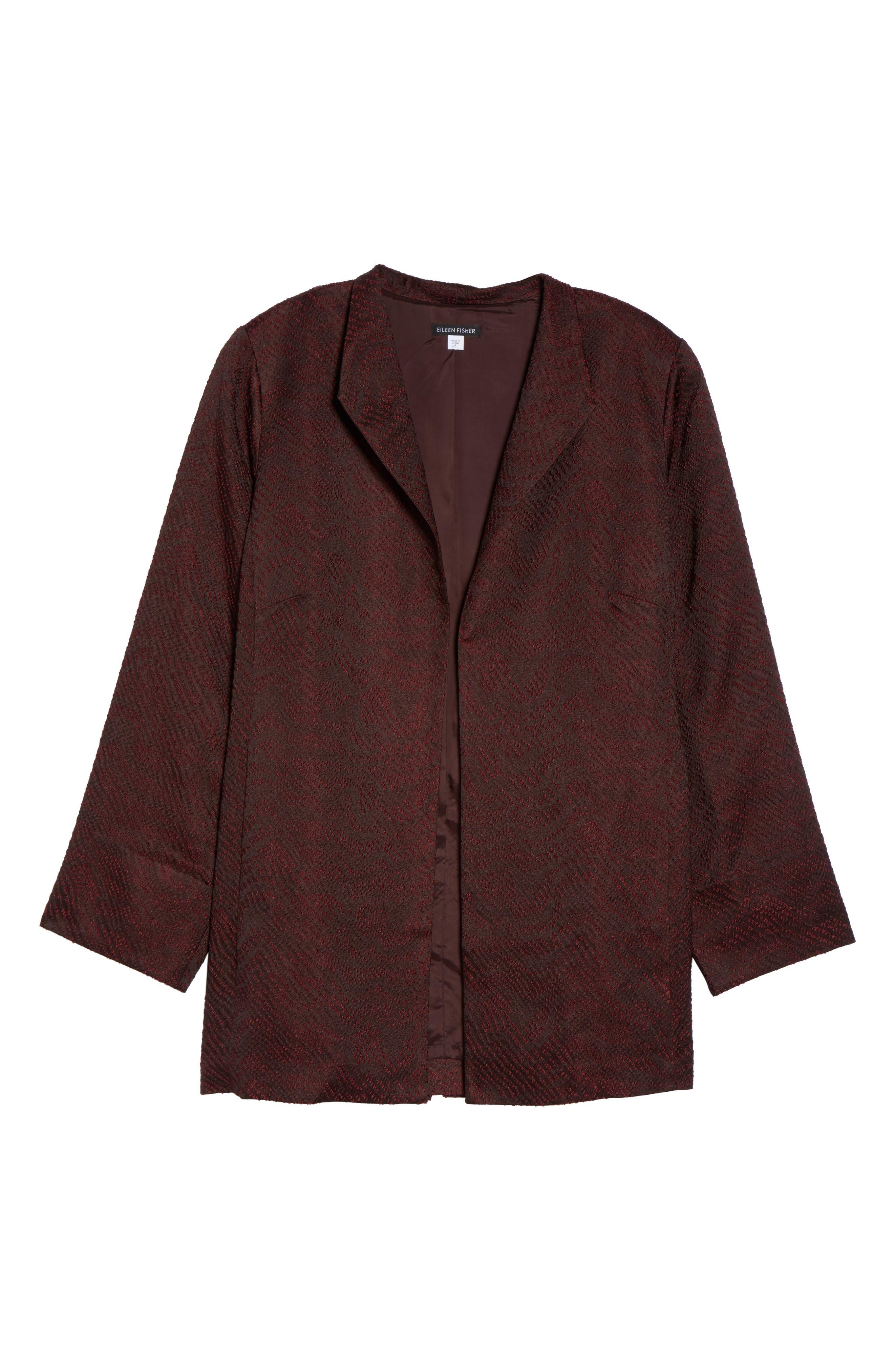 Alternate Image 6  - Eileen Fisher Silk Blend Jacquard Jacket (Plus Size)
