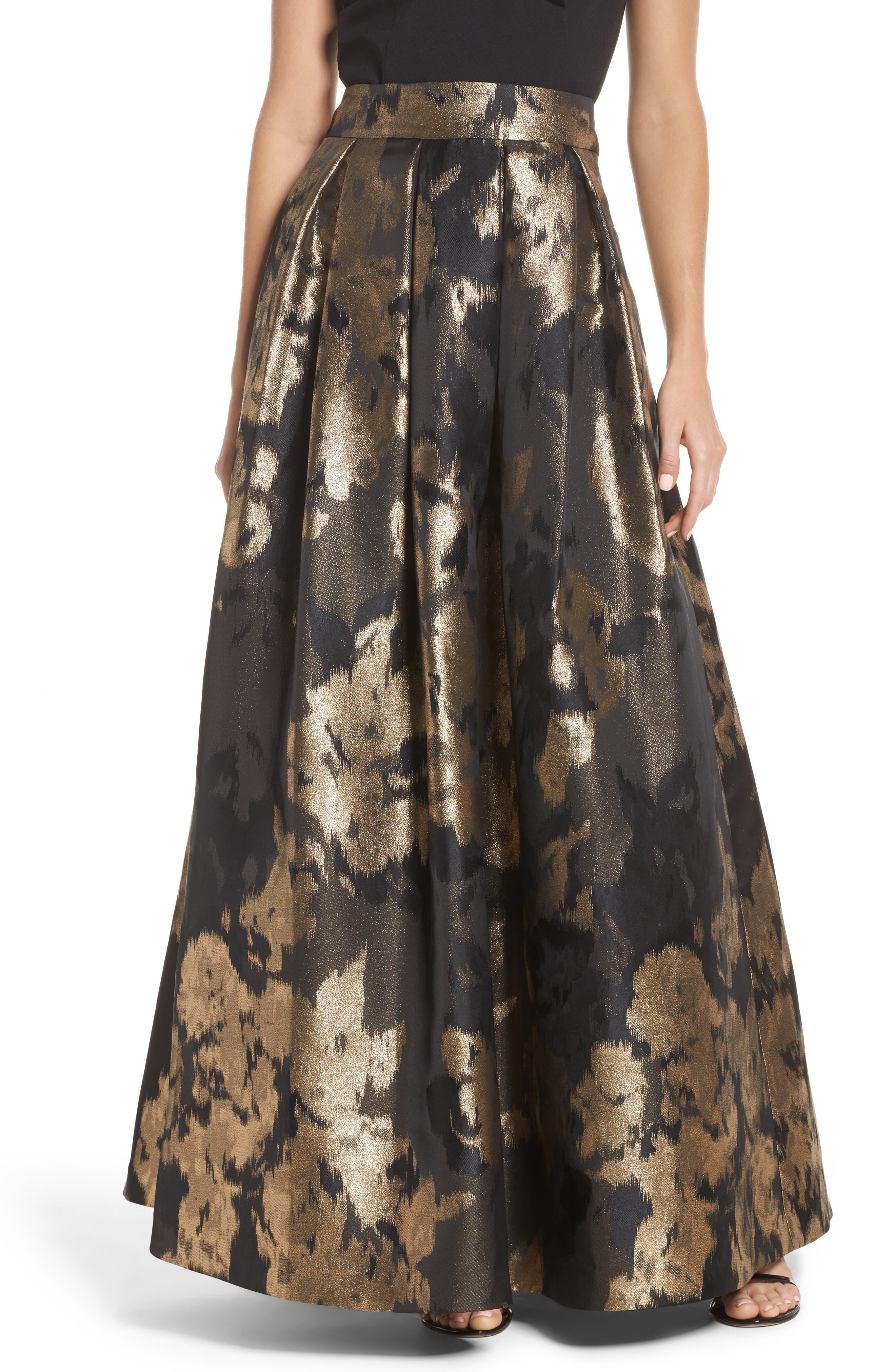 Metallic Jacquard Ball Skirt,                         Main,                         color, Black Bronze