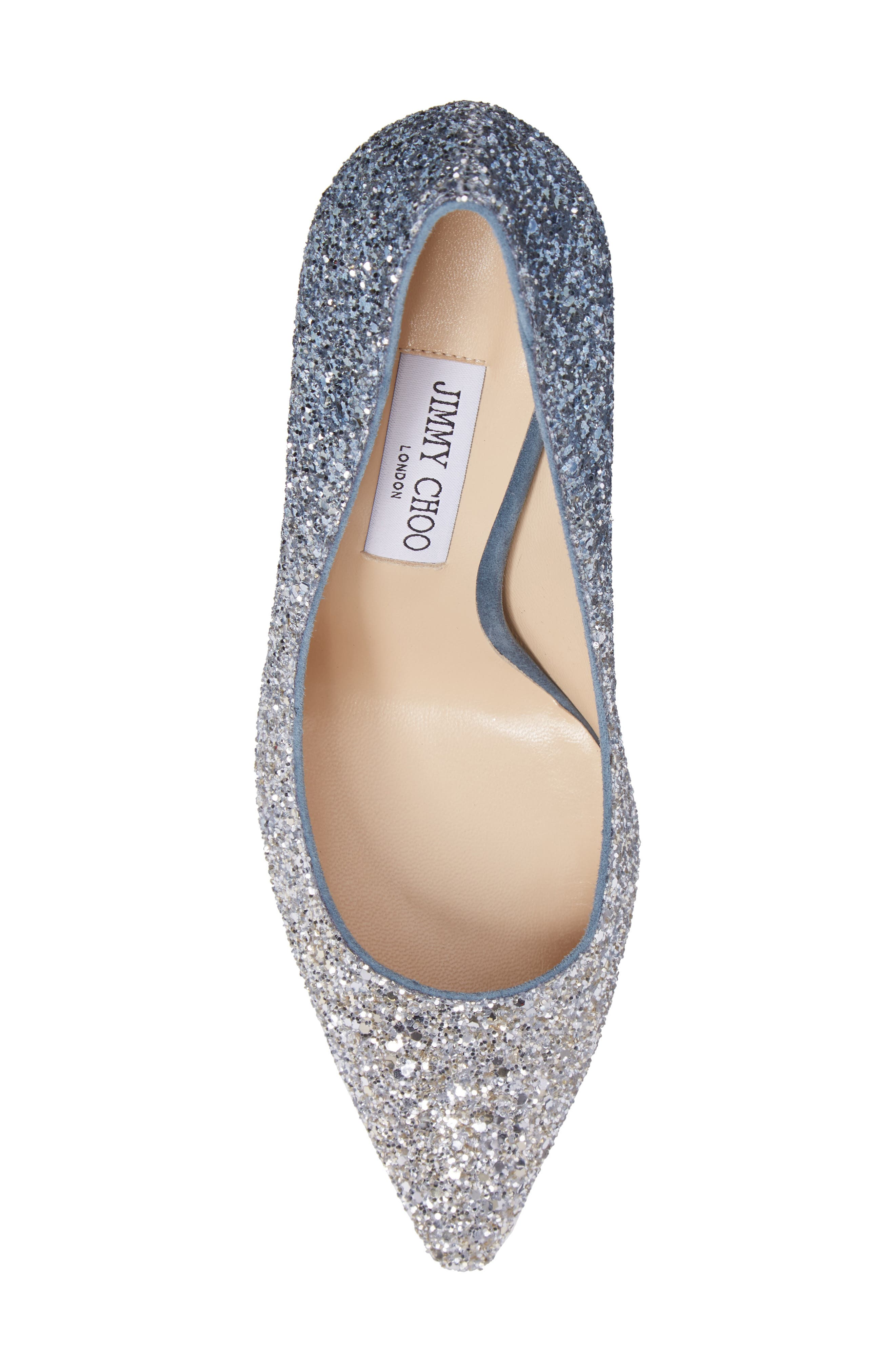 Romy Glitter Pump,                             Alternate thumbnail 6, color,                             Silver/ Dusk Blue