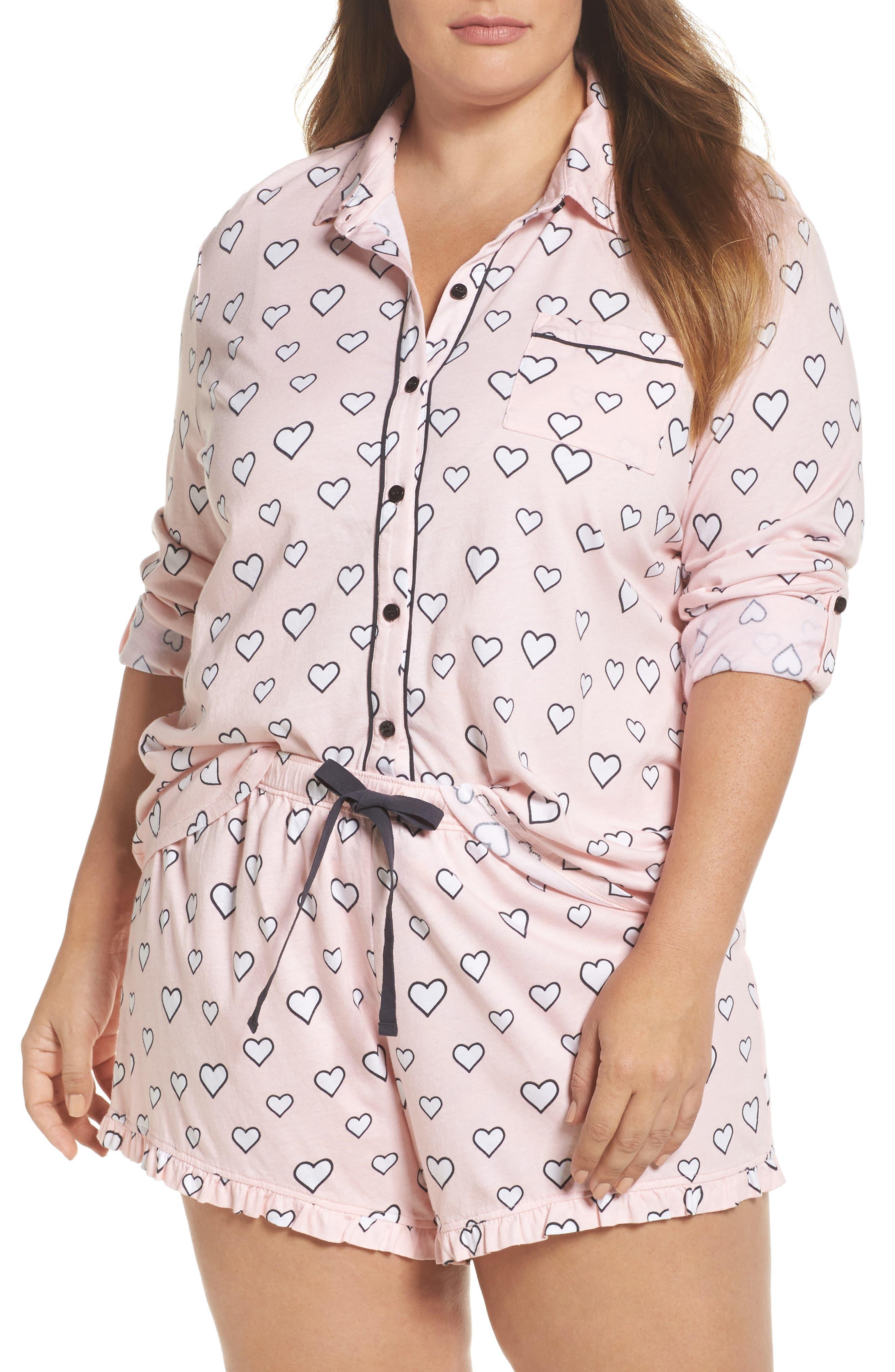 Main Image - PJ Salvage Heart Print Short Pajamas (Plus Size)