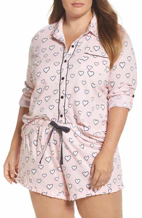 PJ Salvage Heart Print Short Pajamas (Plus Size)
