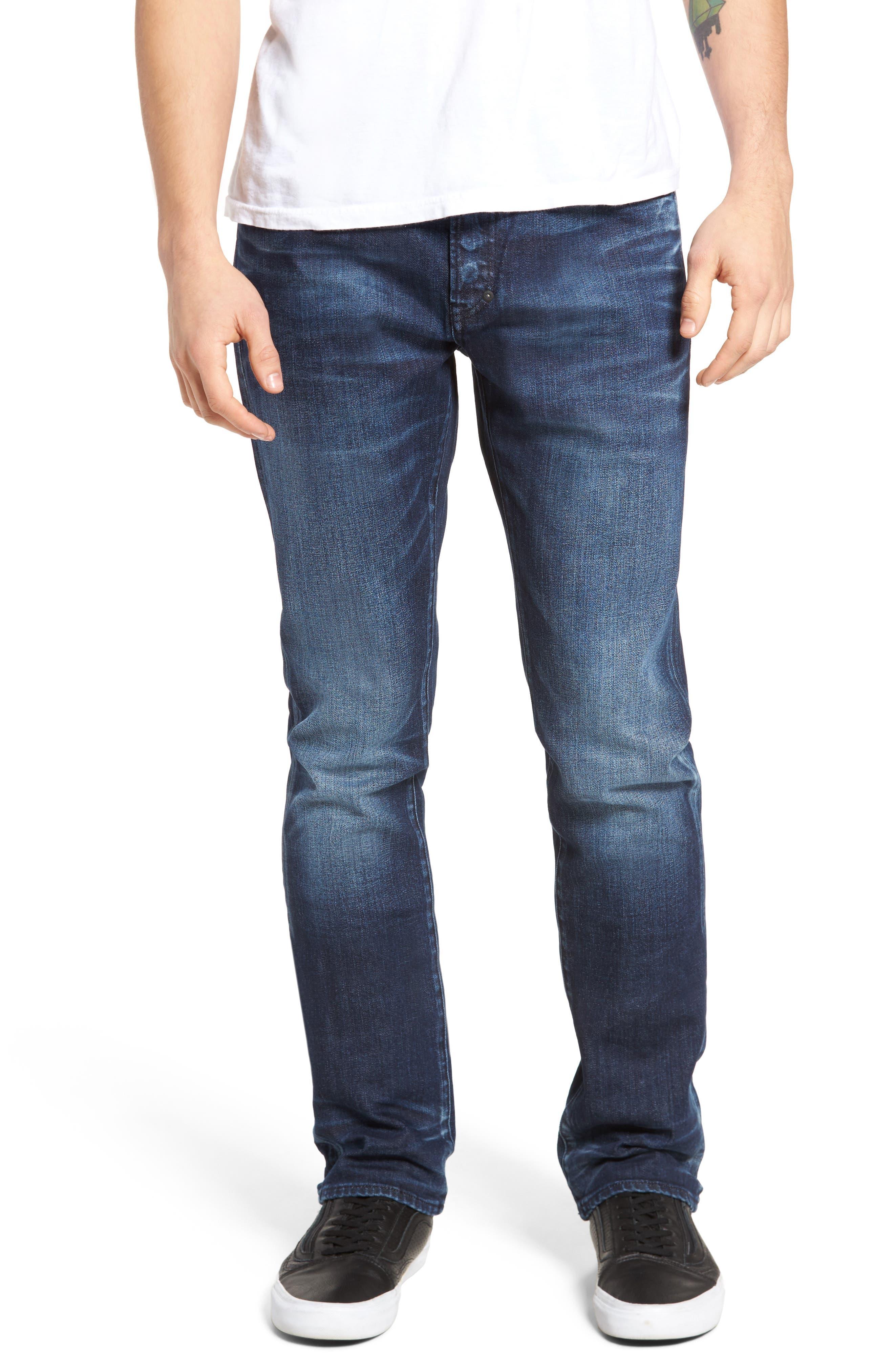 Demon Slim Straight Leg Jeans,                         Main,                         color, Dark Blue