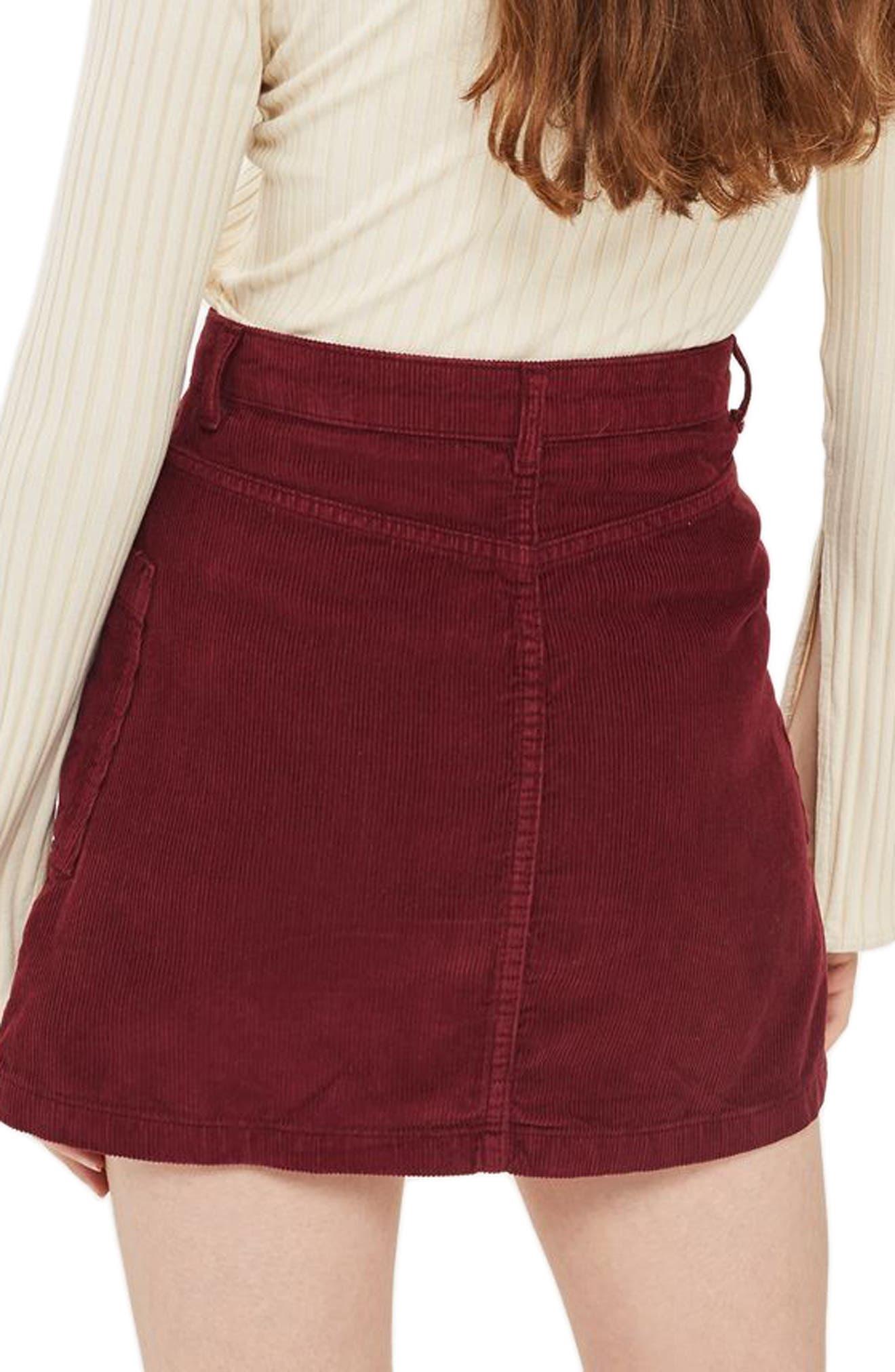 Zip Through Corduroy Skirt,                             Alternate thumbnail 2, color,                             Burgundy