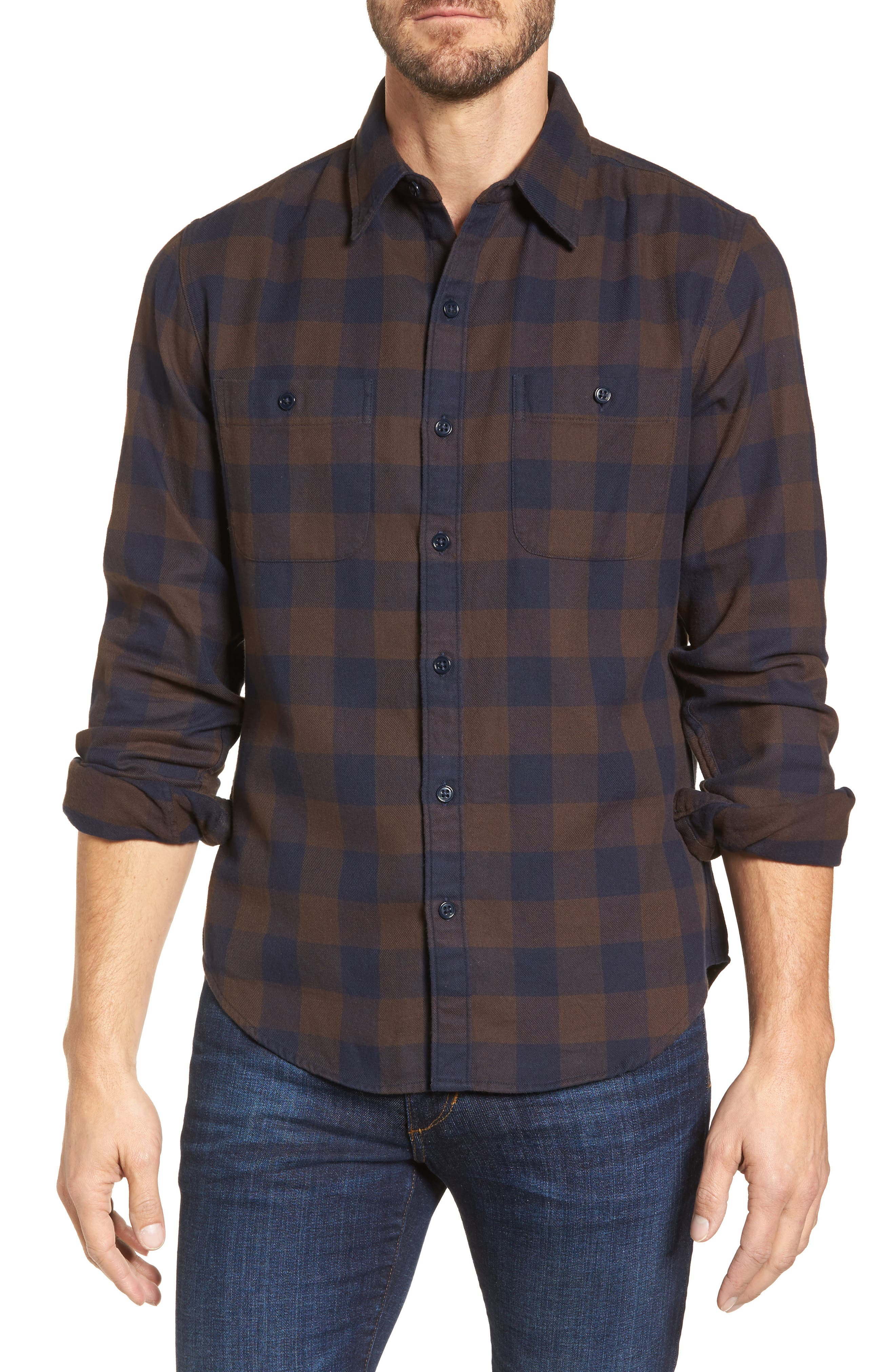 Slim Fit Check Flannel Shirt,                         Main,                         color, Gingham/ Stormy Night
