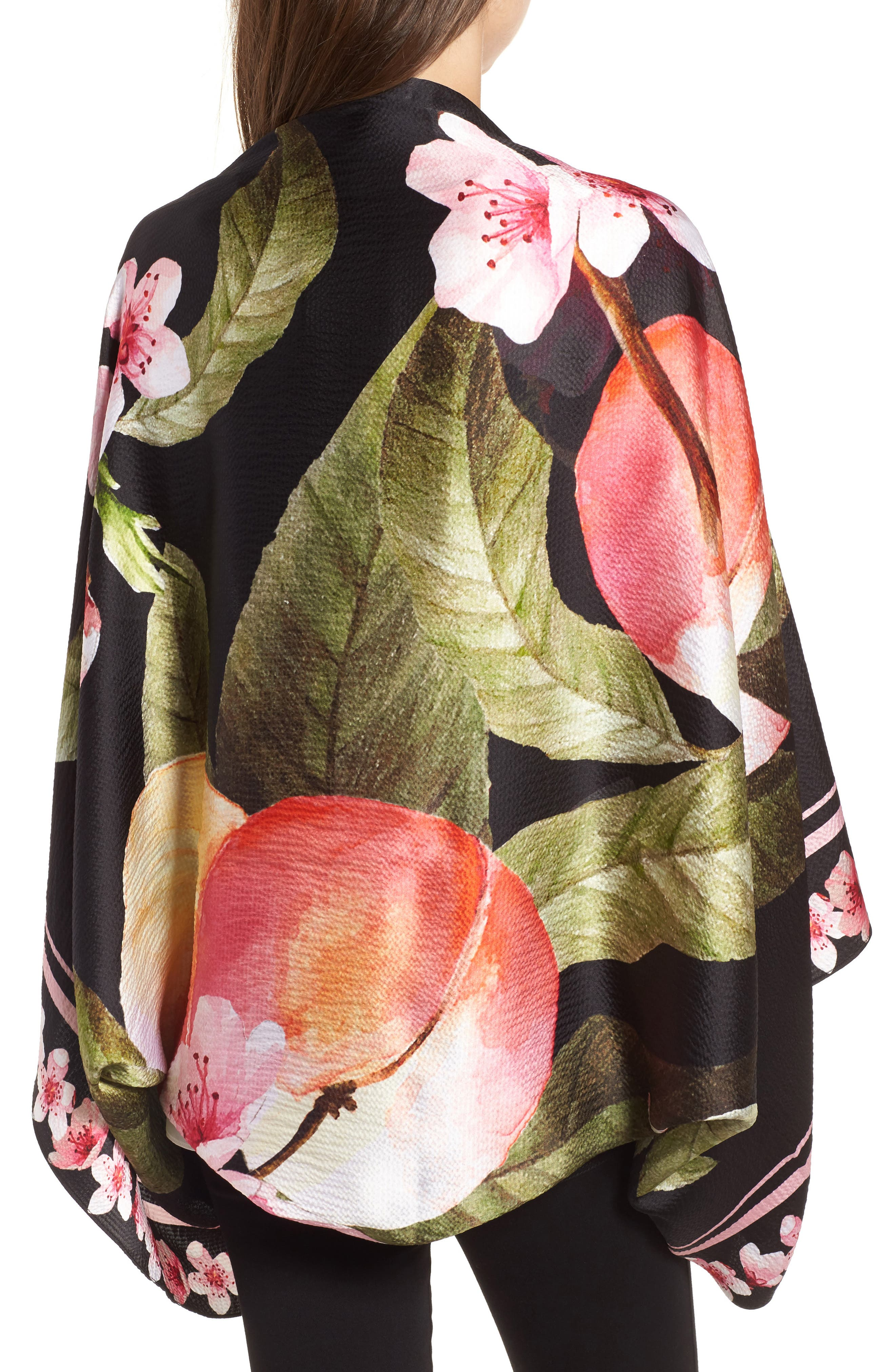 Peach Blossom Silk Cape Scarf,                             Alternate thumbnail 2, color,                             00-Black