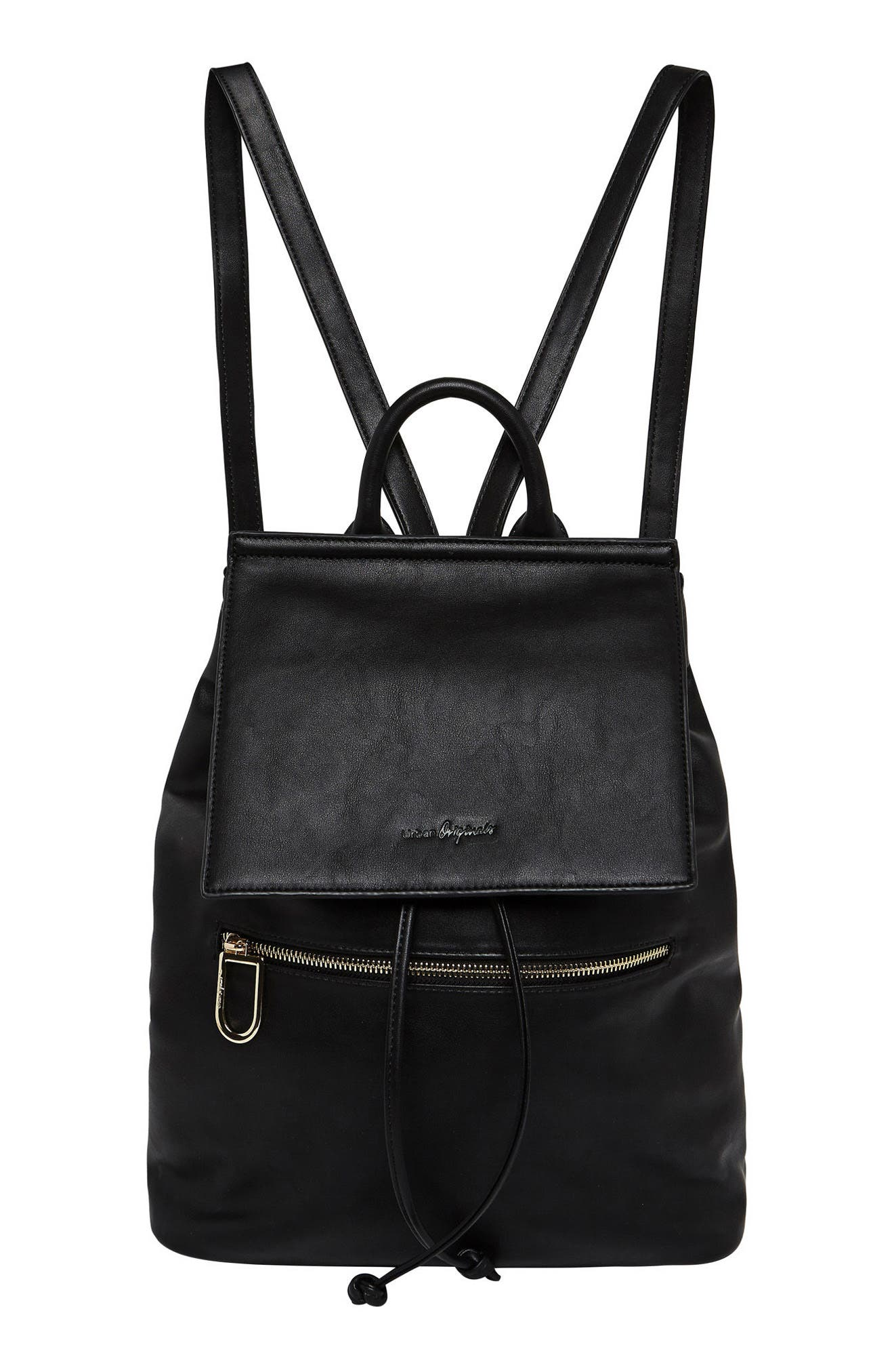 Hide & Seek Vegan Leather Backpack,                             Main thumbnail 1, color,                             Black