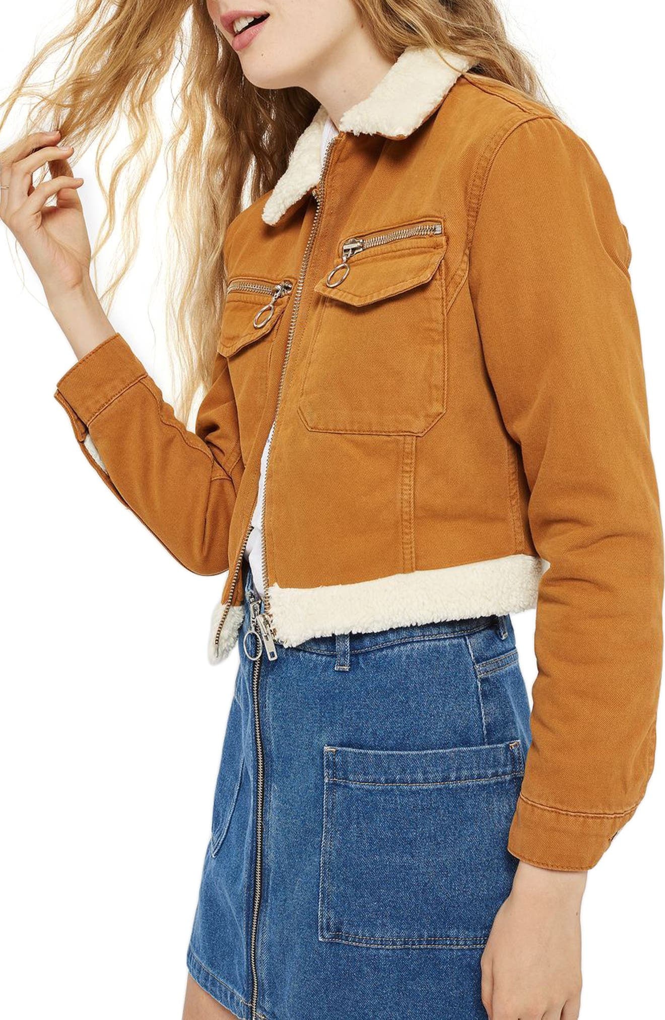 Borg Trim Crop Denim Jacket,                             Alternate thumbnail 4, color,                             Tan