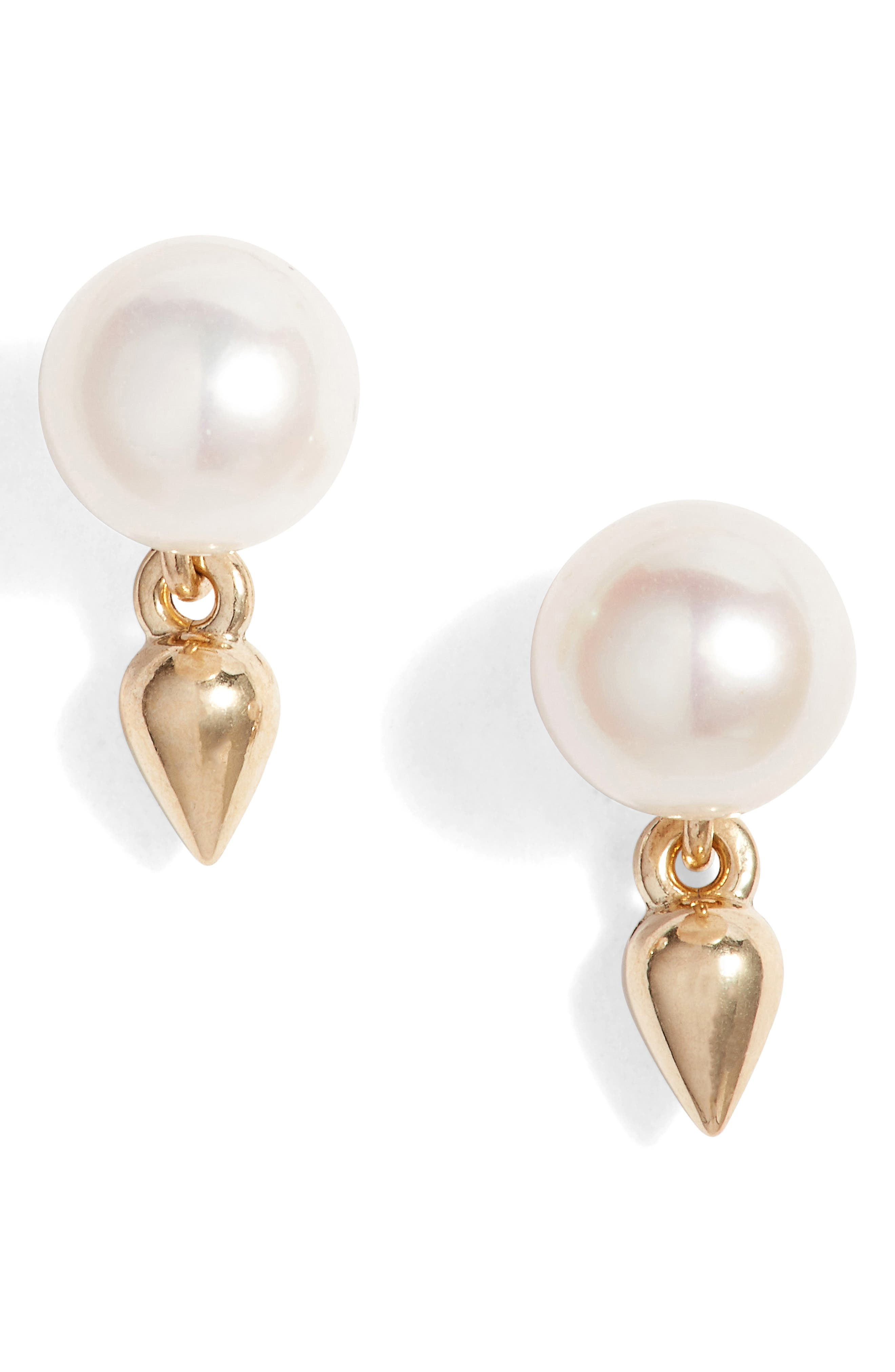 Pearl Stud Earrings,                             Main thumbnail 1, color,                             Yellow Gold