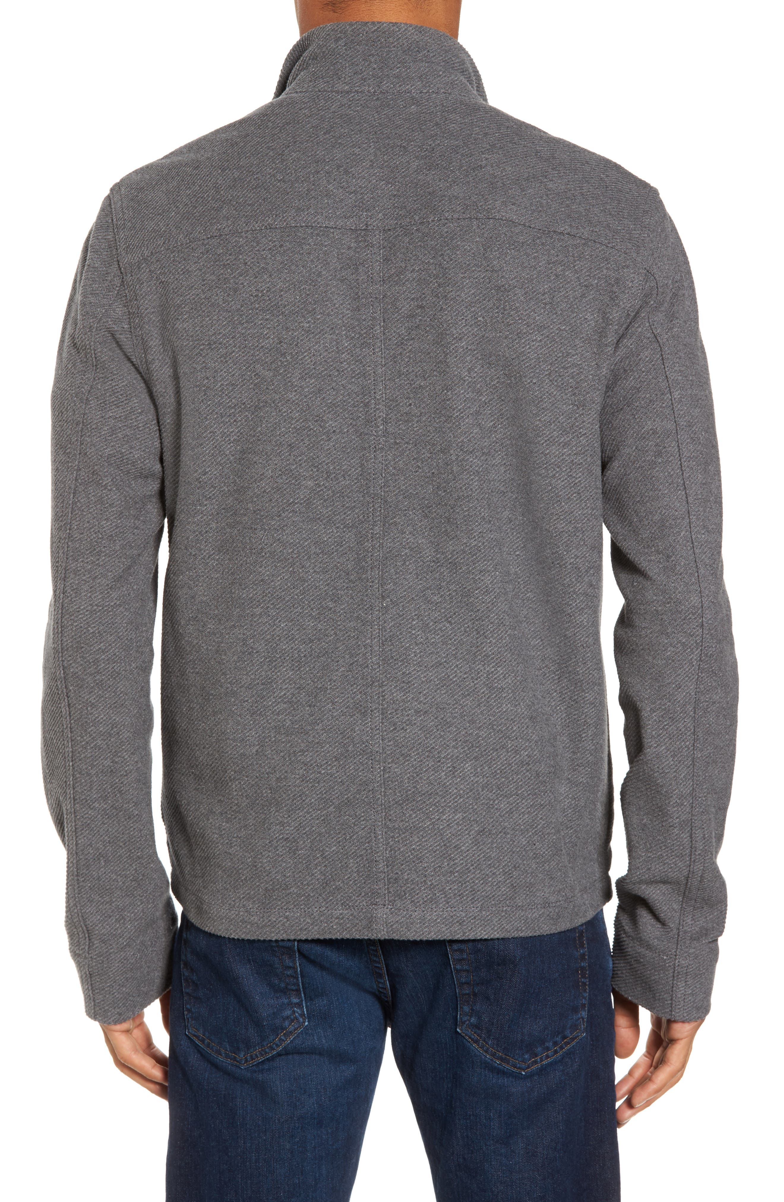 Drill Button Front Knit Jacket,                             Alternate thumbnail 2, color,                             Heather Charcoal