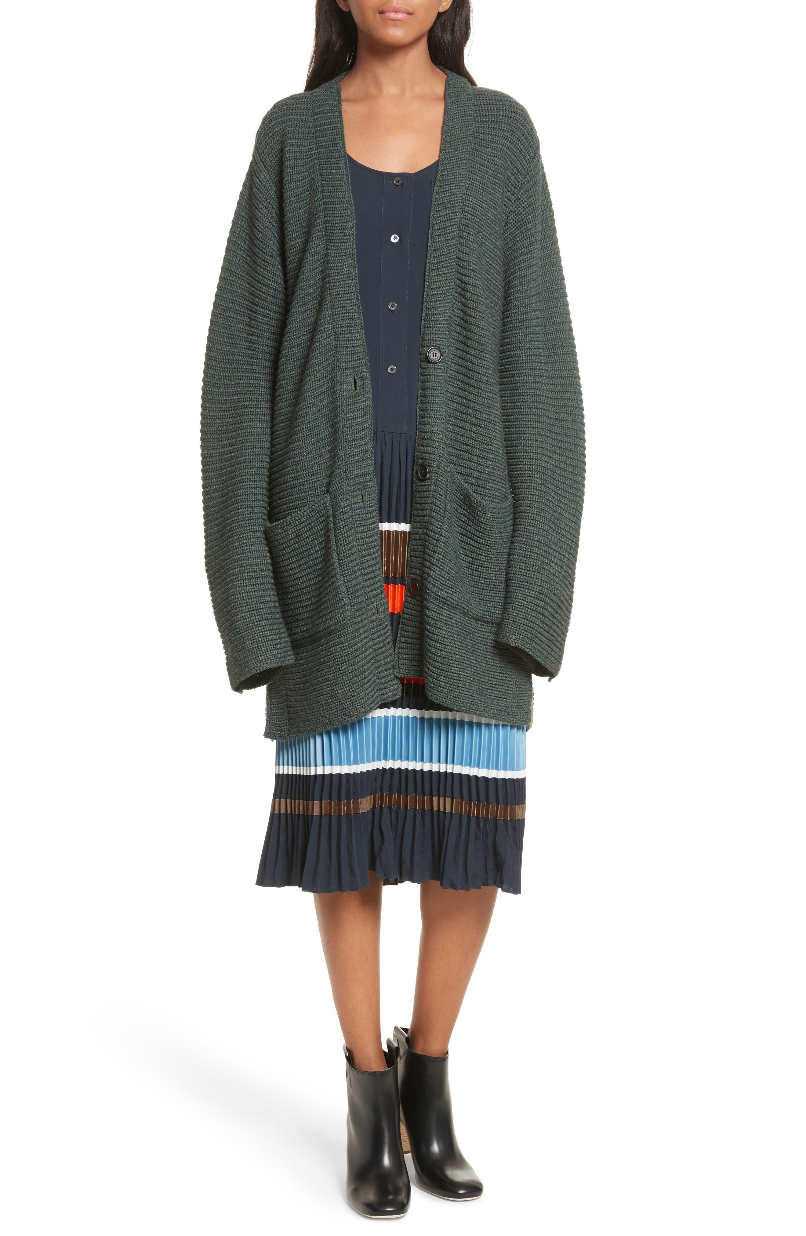 Fleta Merino Wool Blend Cardigan,                             Alternate thumbnail 2, color,                             Olive