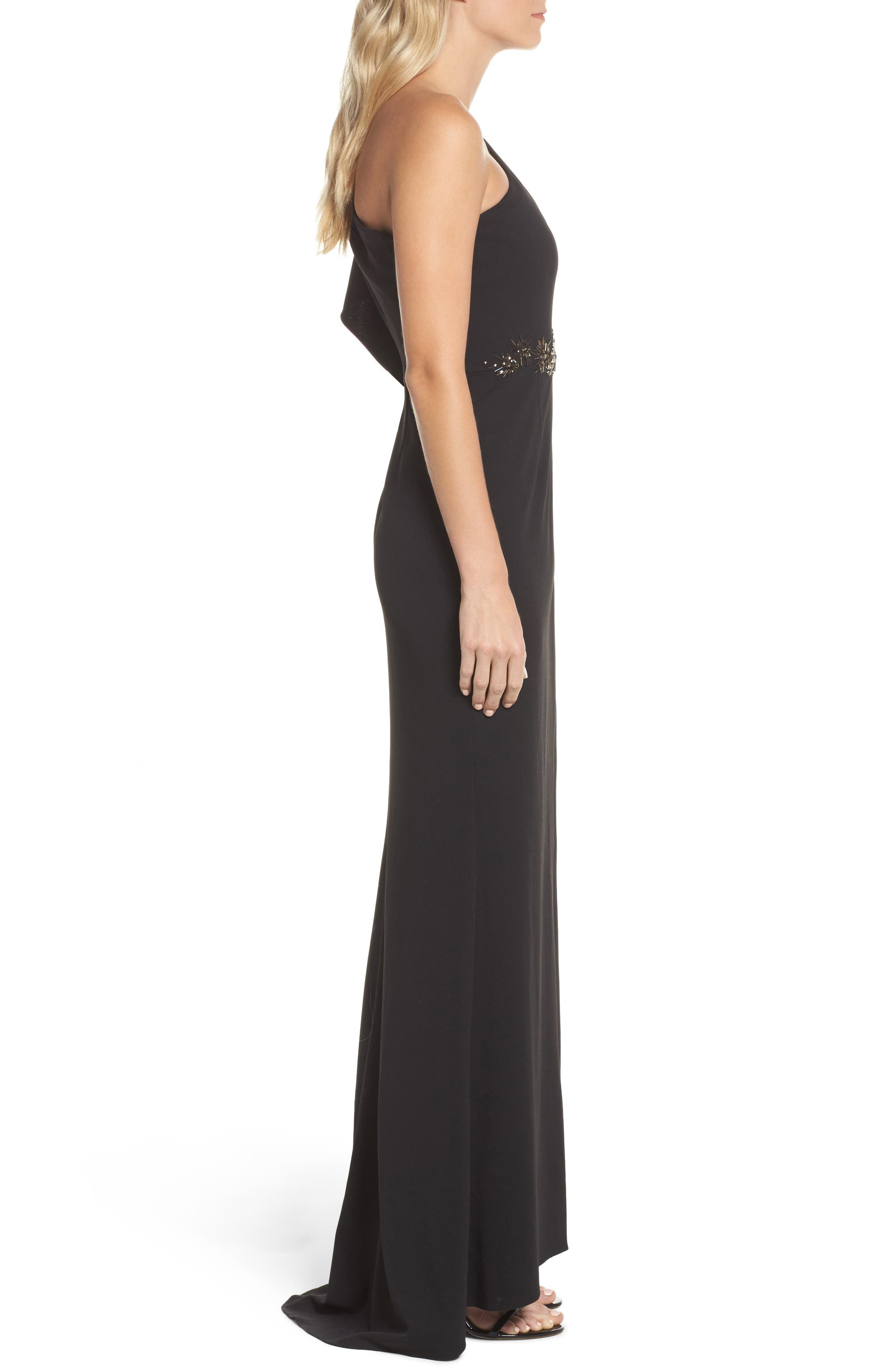 Alternate Image 3  - Adrianna Papell Beaded One-Shoulder Crepe Gown
