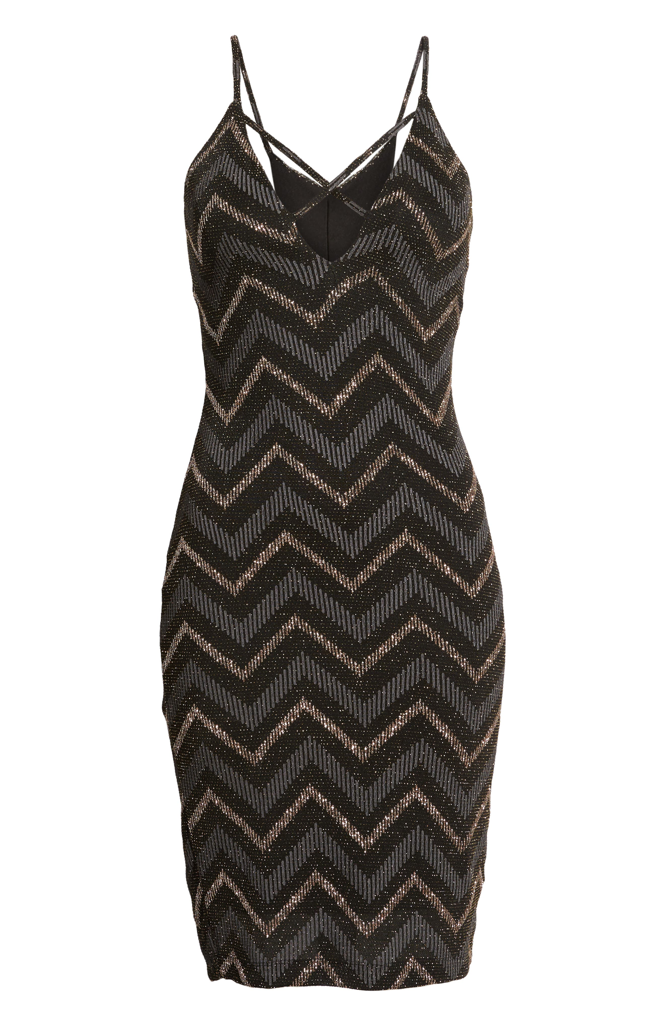 Love Nickie Lew Metallic Chevron Stripe Midi Dress,                             Alternate thumbnail 6, color,                             Black/ Copper
