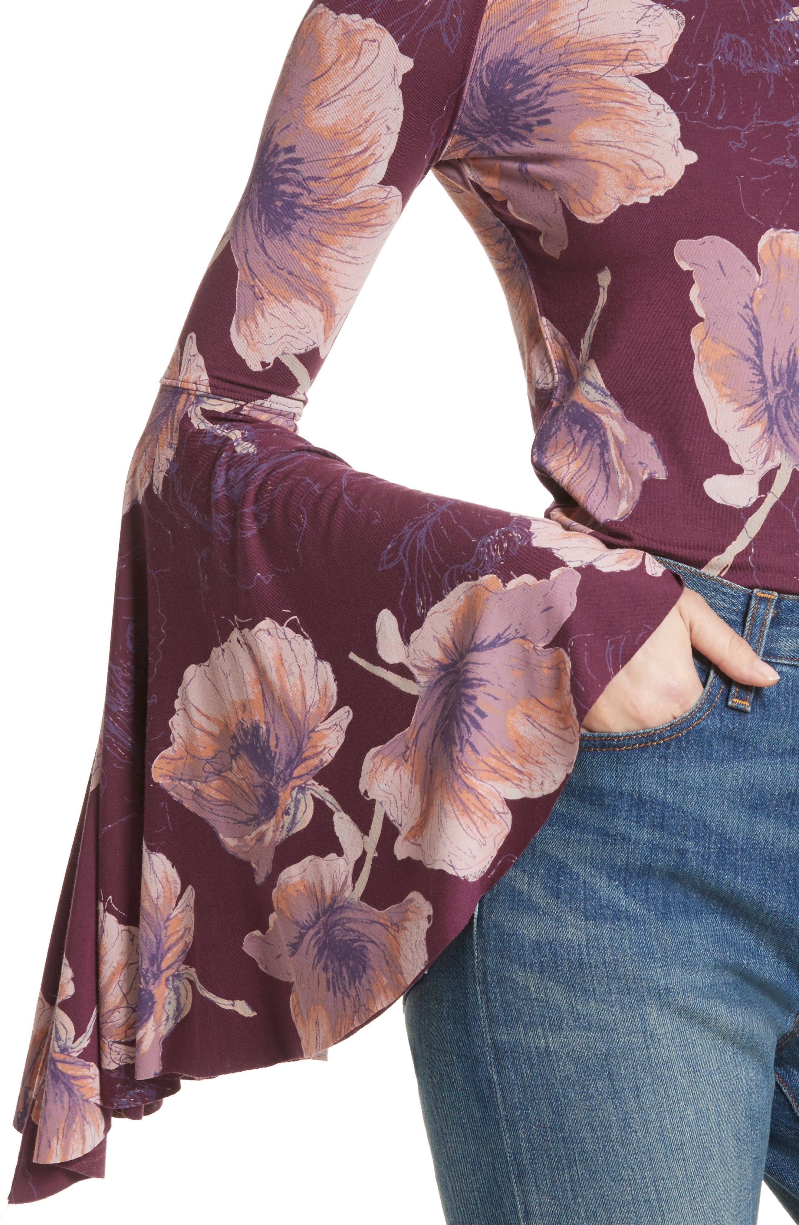 Birds of Paradise Print Off the Shoulder Top,                             Alternate thumbnail 4, color,                             Wine