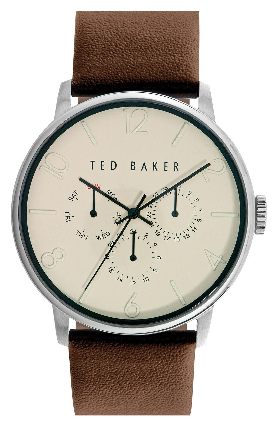 Main Image - Ted Baker London Multifunction Leather Strap Watch, 42mm
