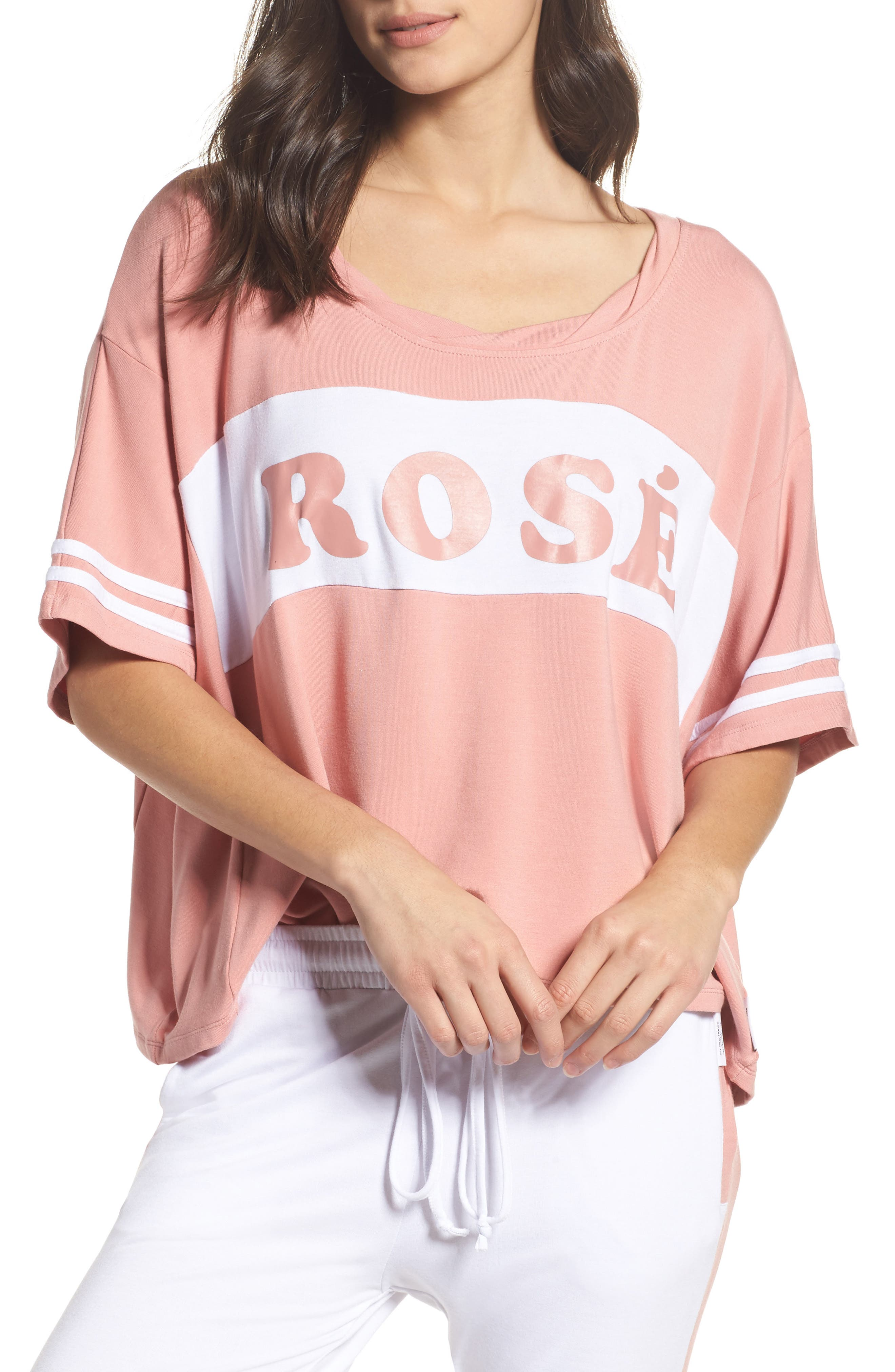 Team Rosé Baggy Tee,                             Main thumbnail 1, color,                             White / Champagne