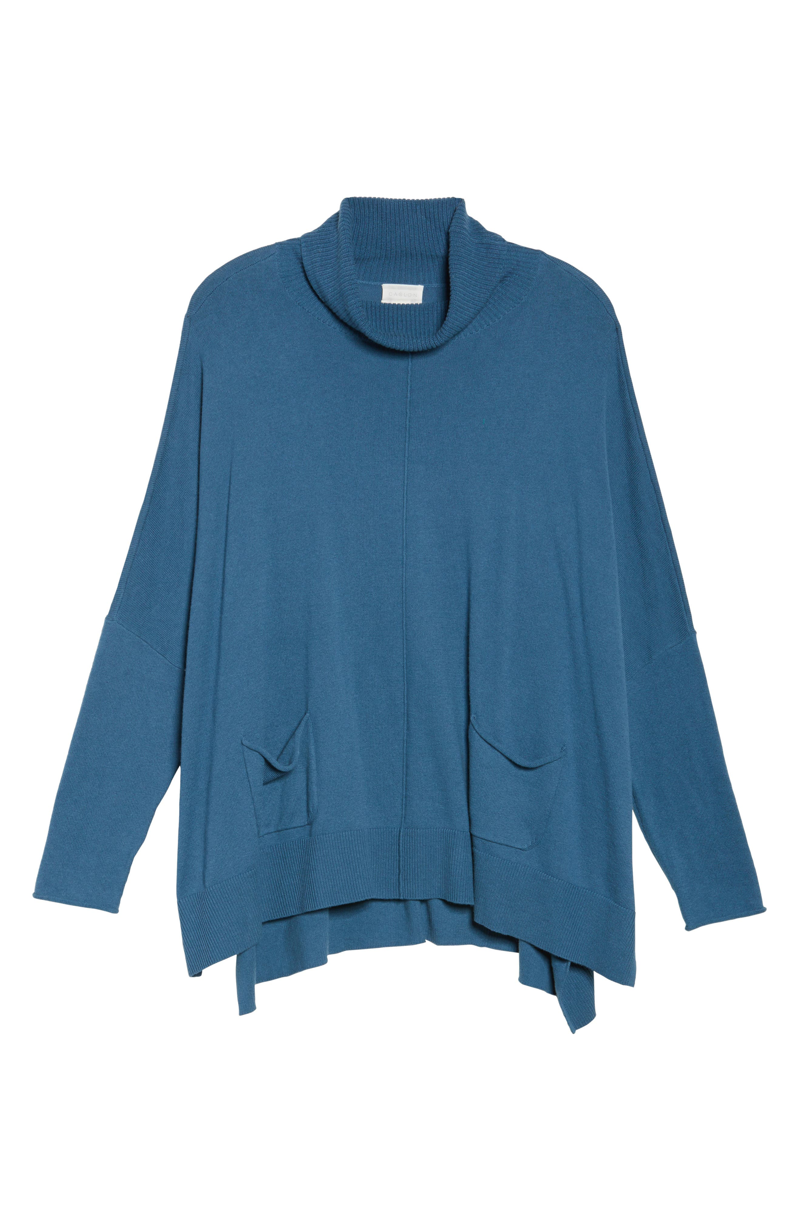 Relaxed Cotton & Cashmere Sweater,                             Alternate thumbnail 6, color,                             Teal Sound