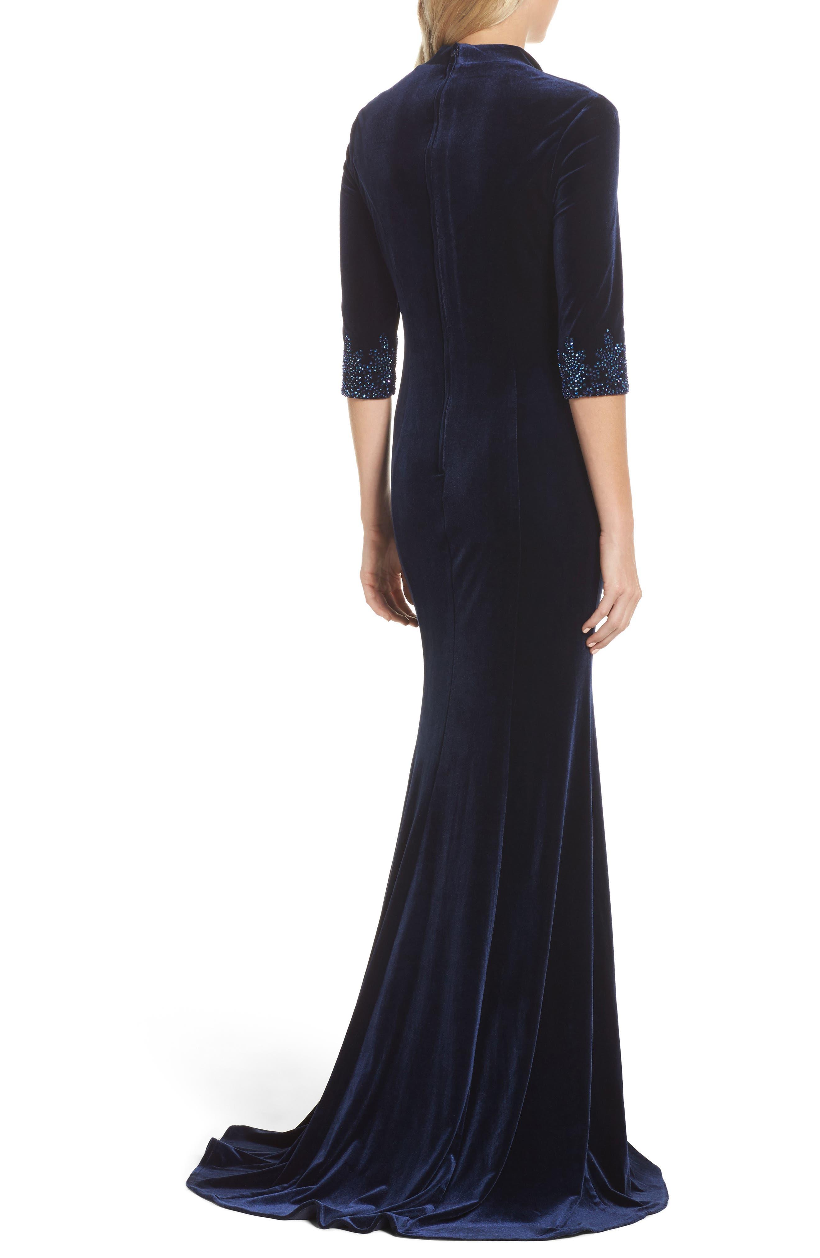 Velvet Gown,                             Alternate thumbnail 2, color,                             Navy