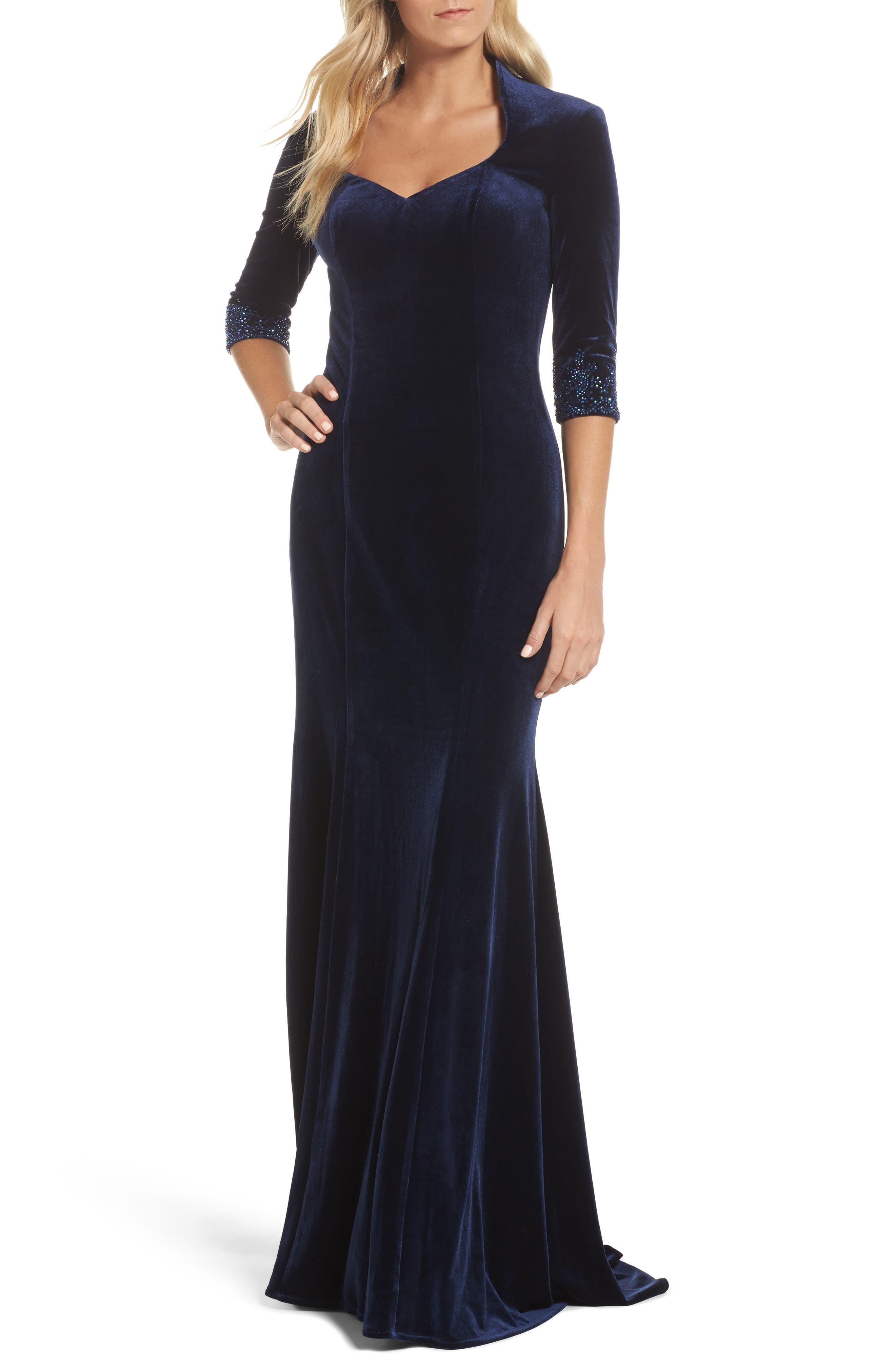Velvet Gown,                             Main thumbnail 1, color,                             Navy