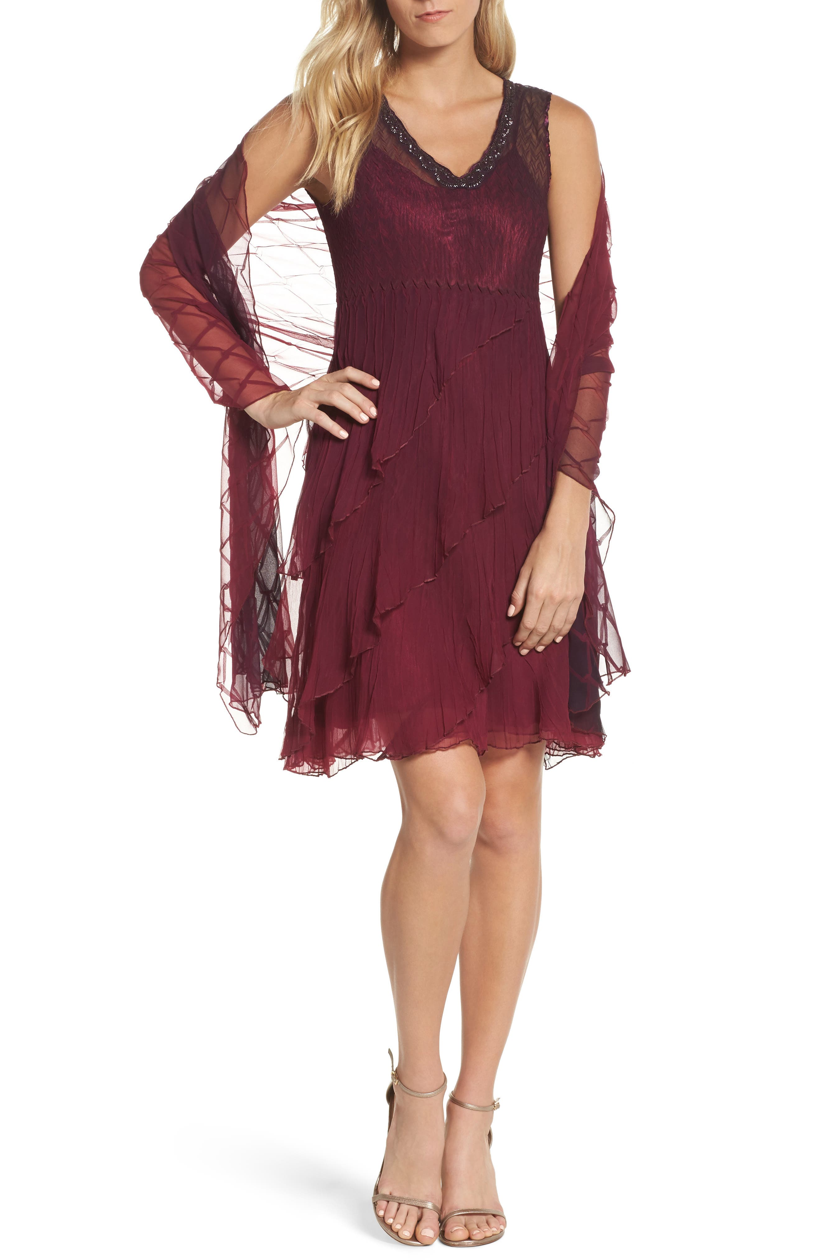 Tiered A-Line Dress with Shawl,                             Main thumbnail 1, color,                             Red Plum Night