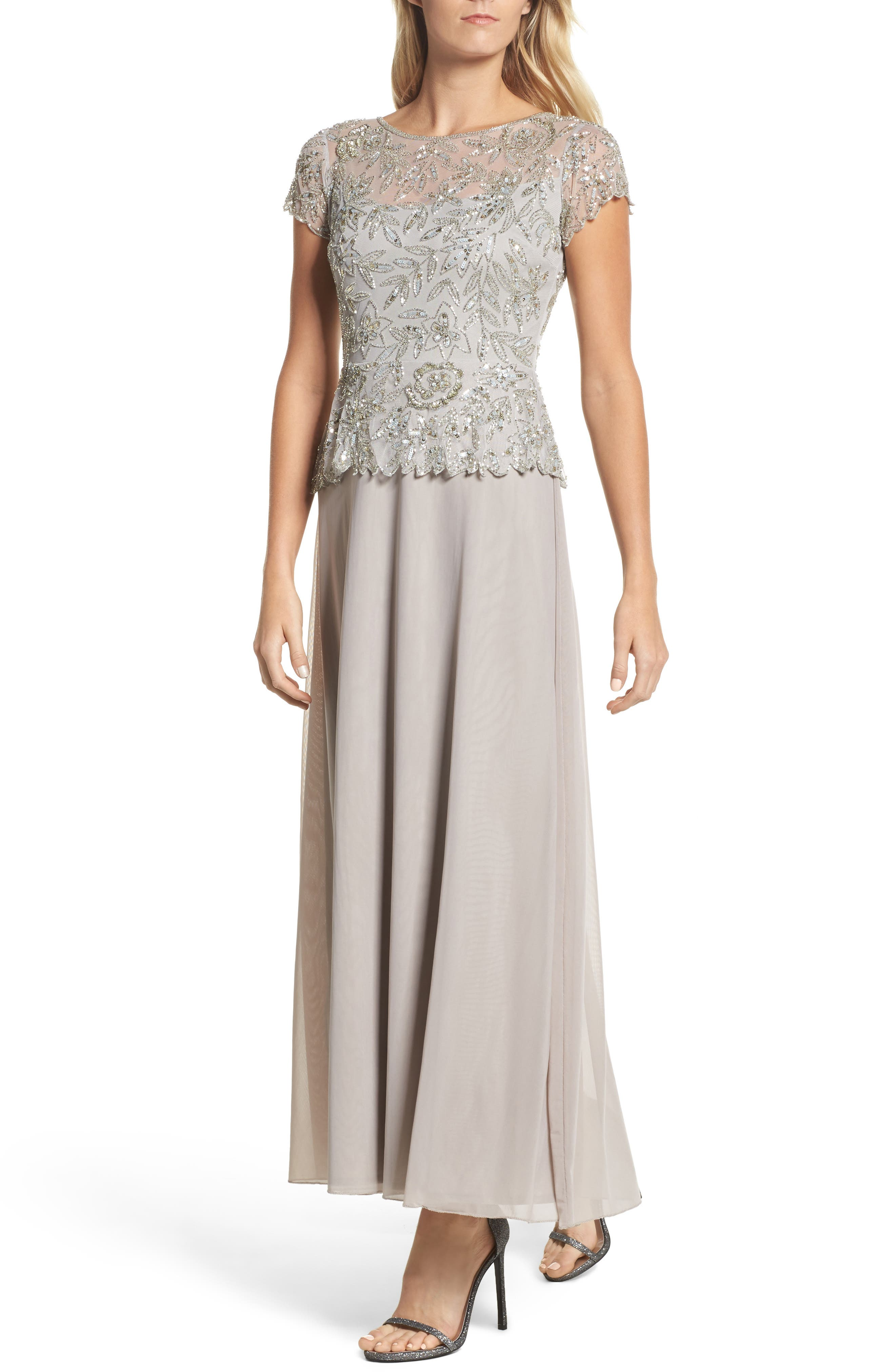 Beaded Mesh Mock Two-Piece Gown,                             Main thumbnail 1, color,                             Silver