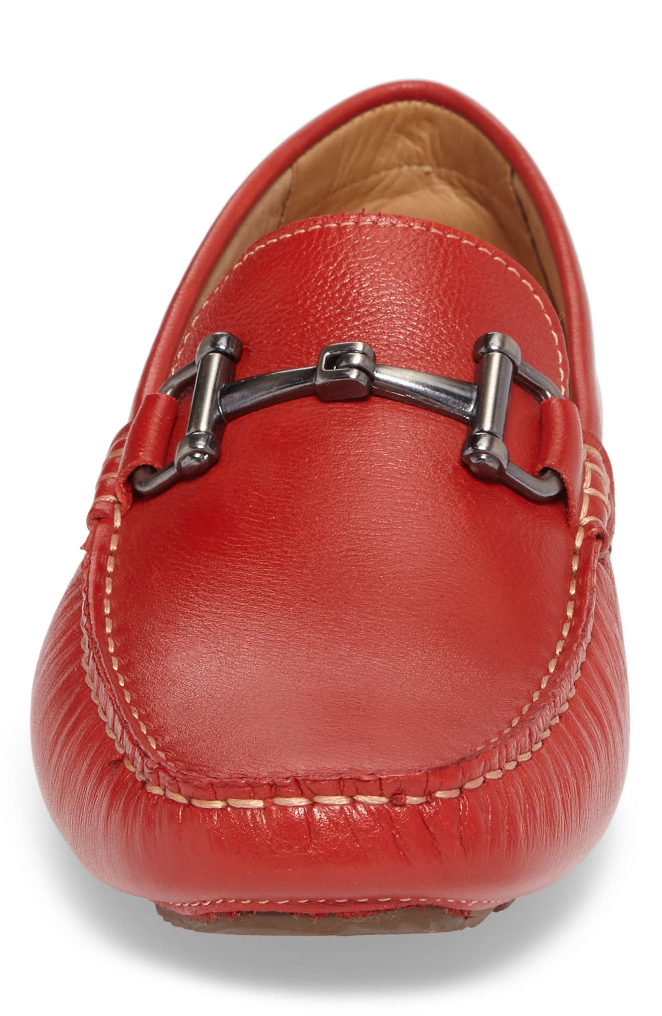 Topanga Driving Shoe,                             Alternate thumbnail 4, color,                             Red Leather