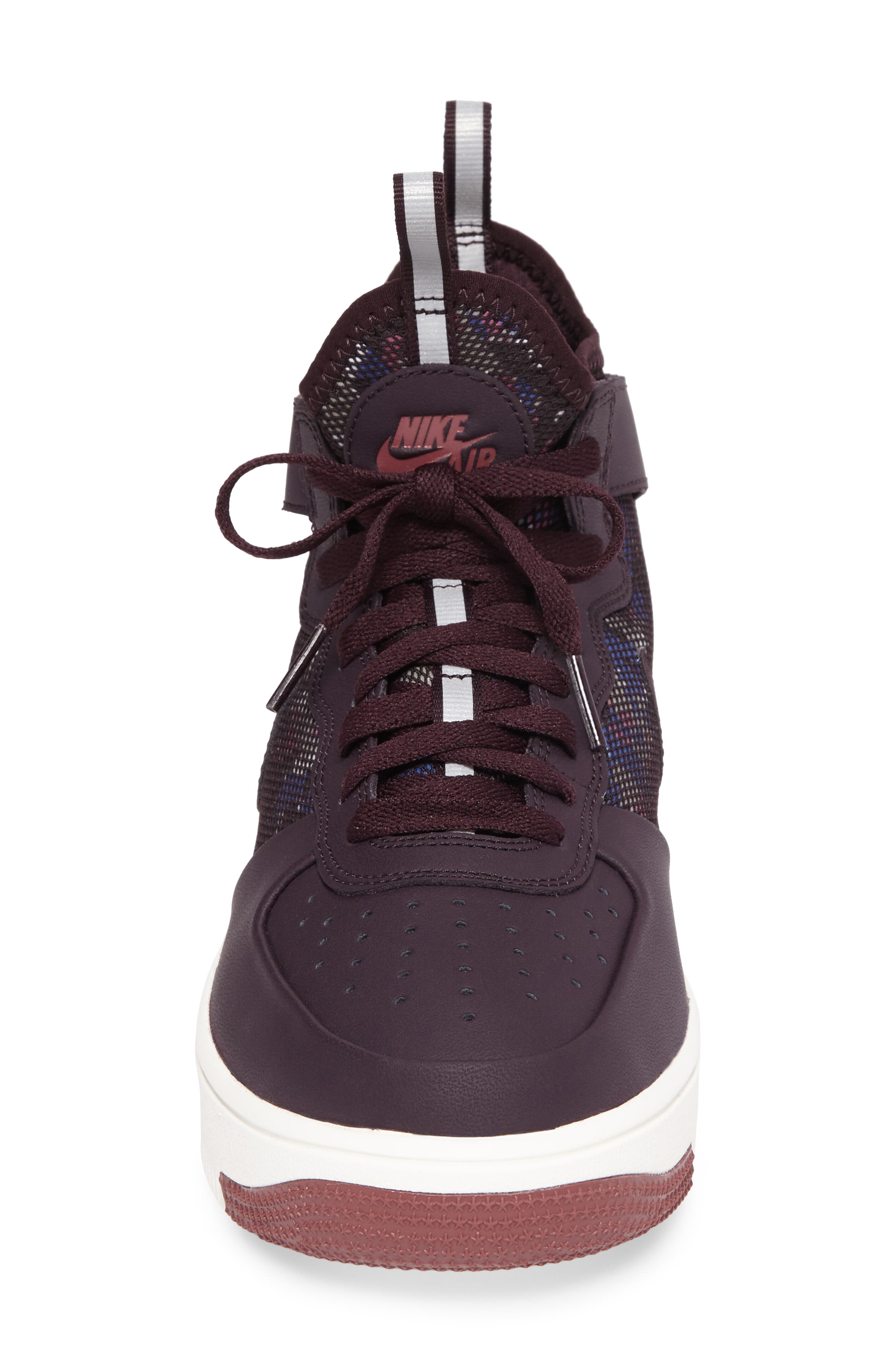 Air Force 1 Ultraforce Mid Sneaker,                             Alternate thumbnail 4, color,                             Port Wine/ Summit White