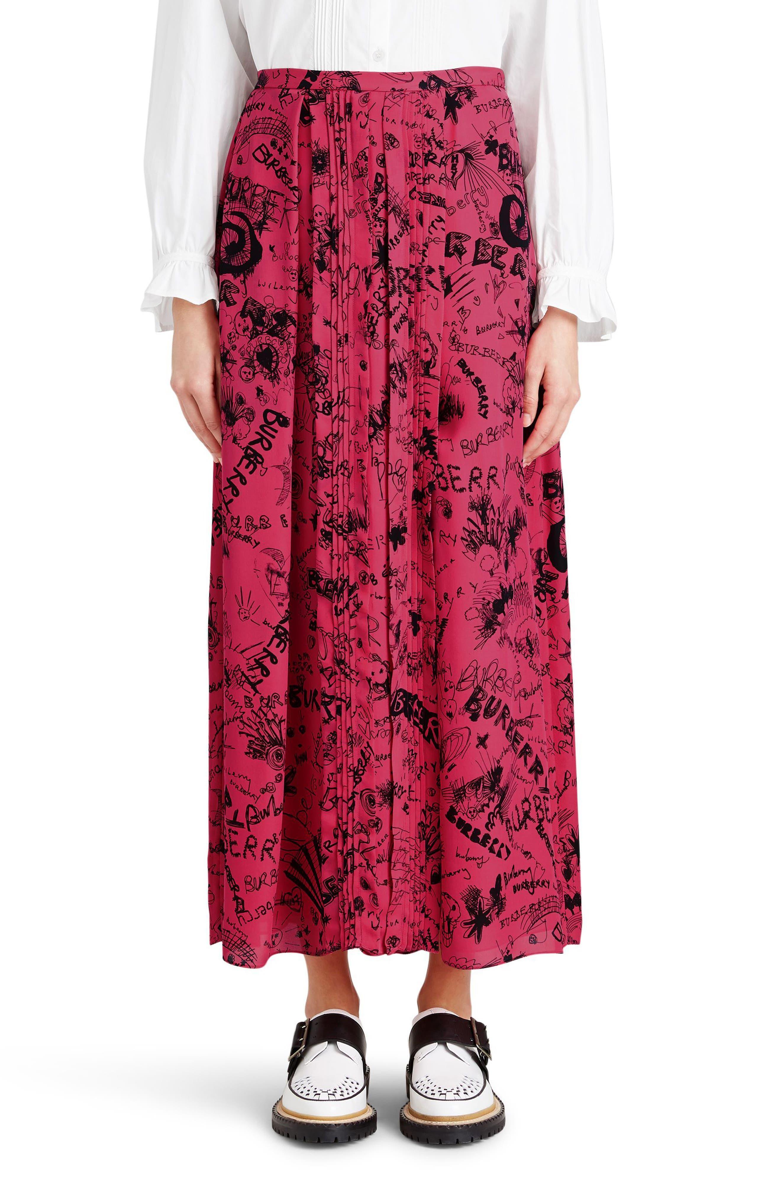 Neckar Doodle Print Silk Skirt,                             Main thumbnail 1, color,                             Fluro Pink