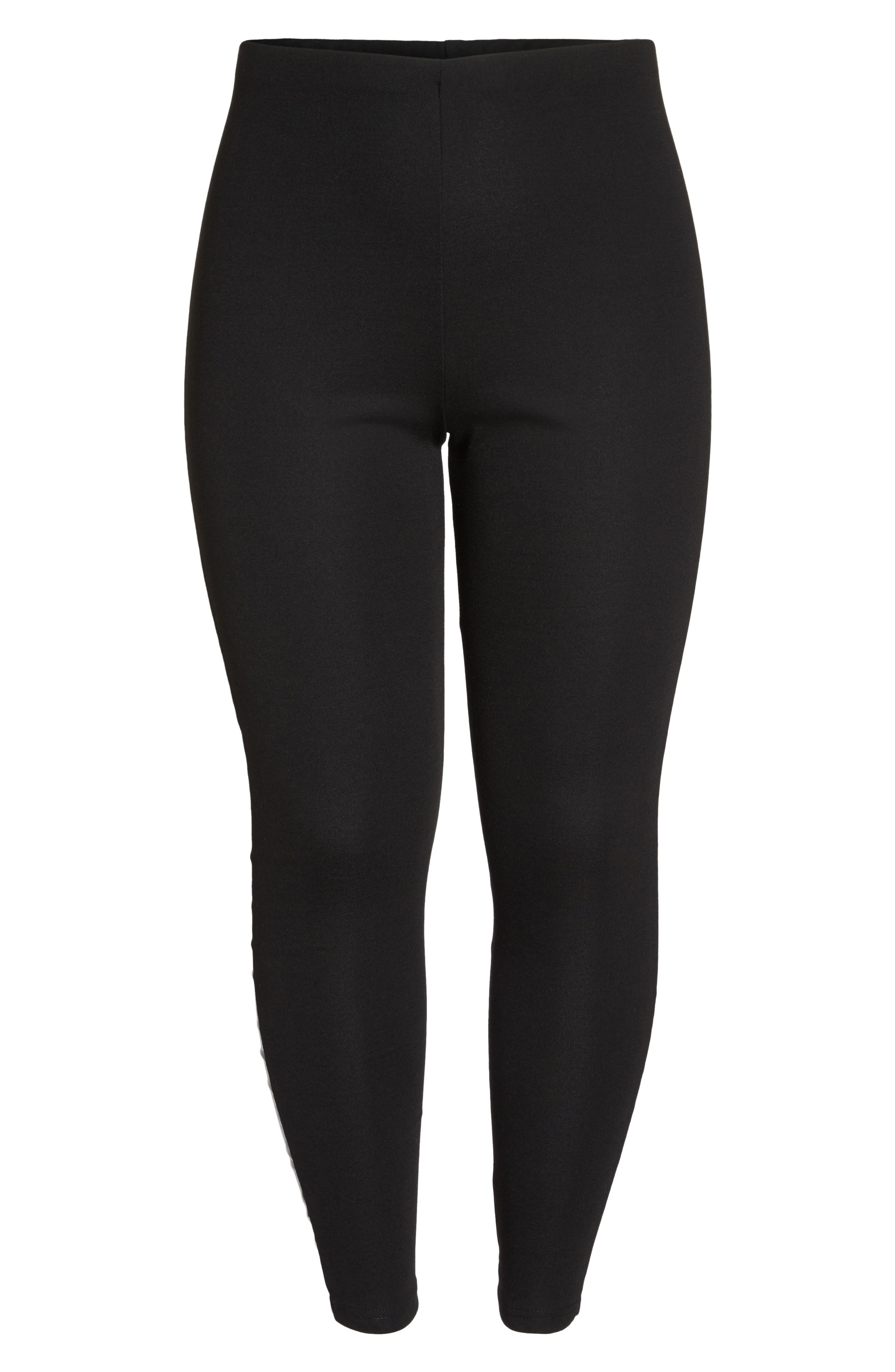 Skinny Pant with Vinyl Seam,                             Alternate thumbnail 6, color,                             Black