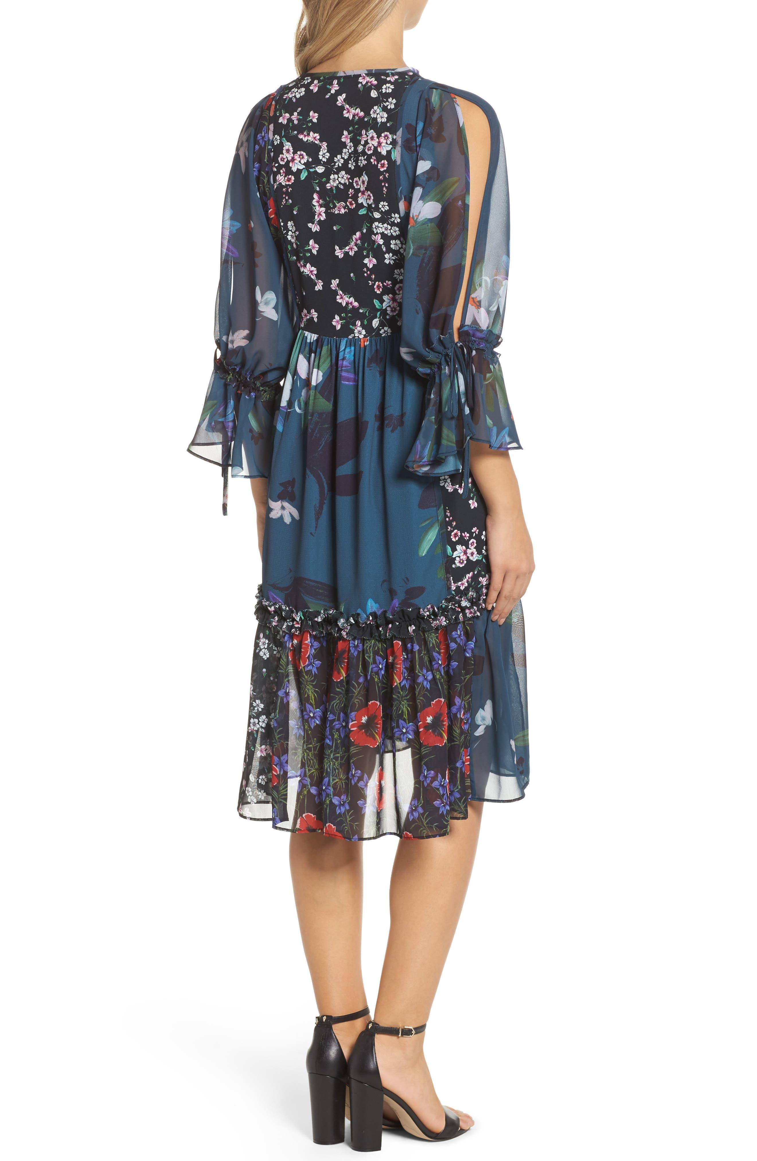 Celia Midi Dress,                             Alternate thumbnail 2, color,                             Deep Teal Multi
