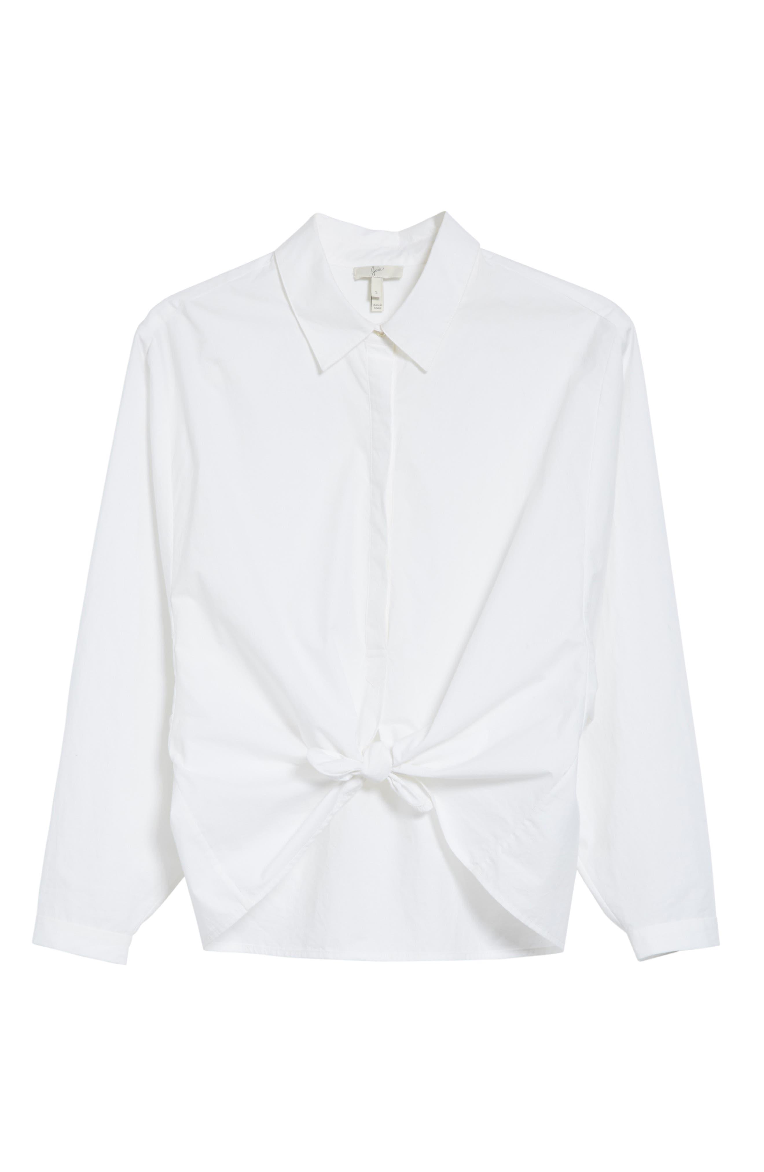 Anjanique B Button Down Cotton Shirt,                             Alternate thumbnail 6, color,                             Clean White