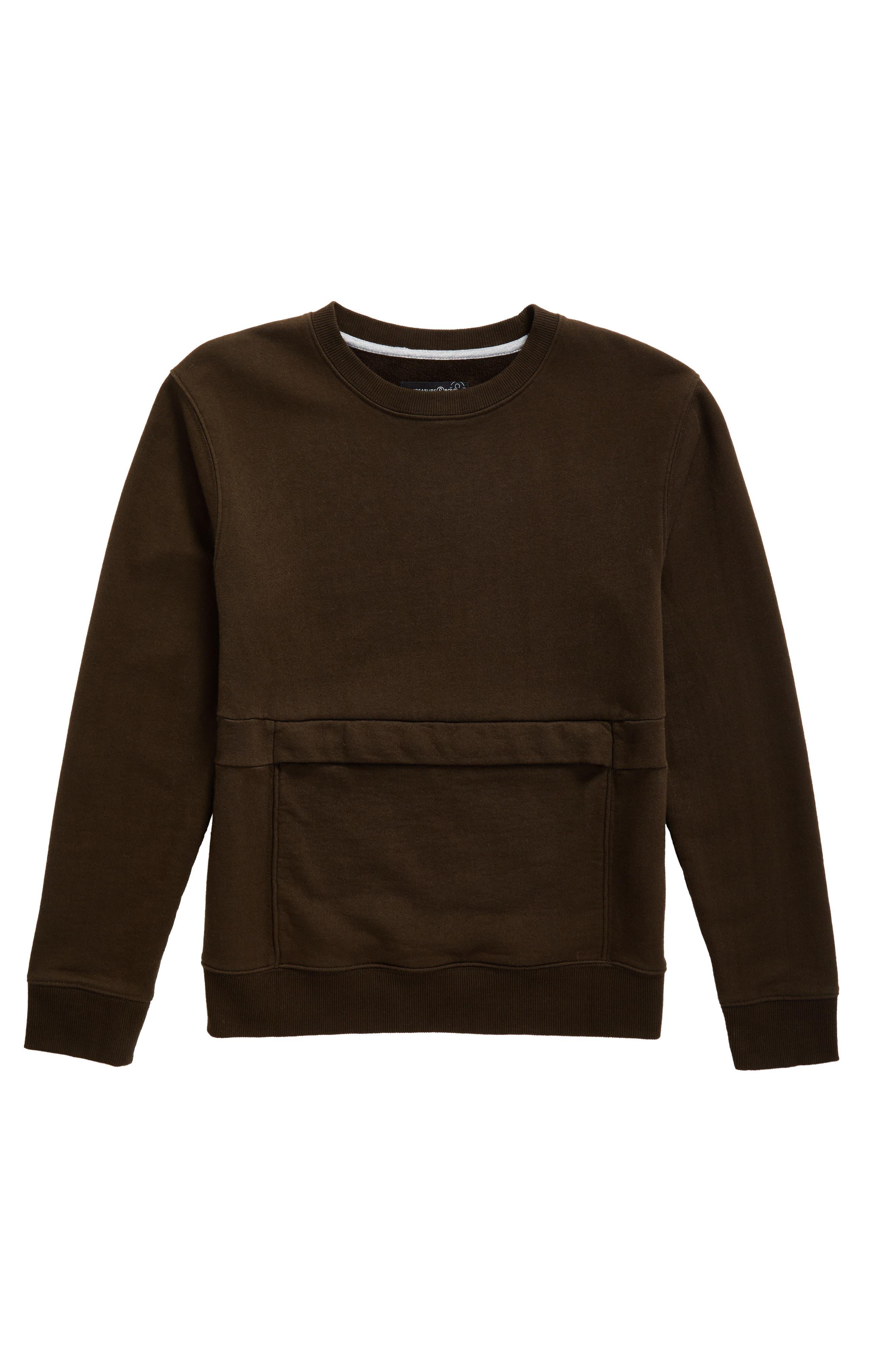 Pouch Pocket Sweatshirt,                         Main,                         color, Olive Sarma