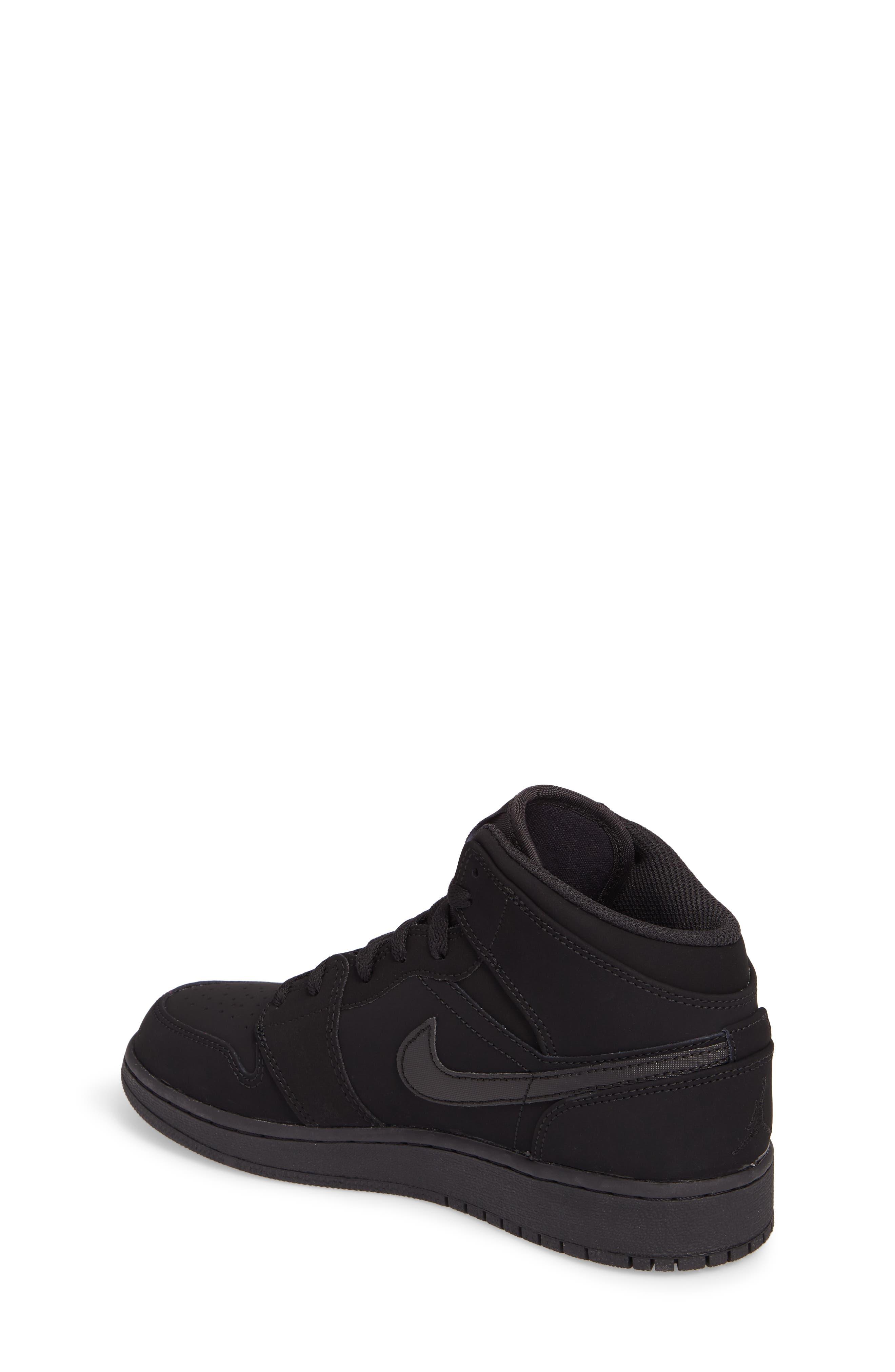 Nike 'Air Jordan 1 Mid' Sneaker,                             Alternate thumbnail 2, color,                             Black
