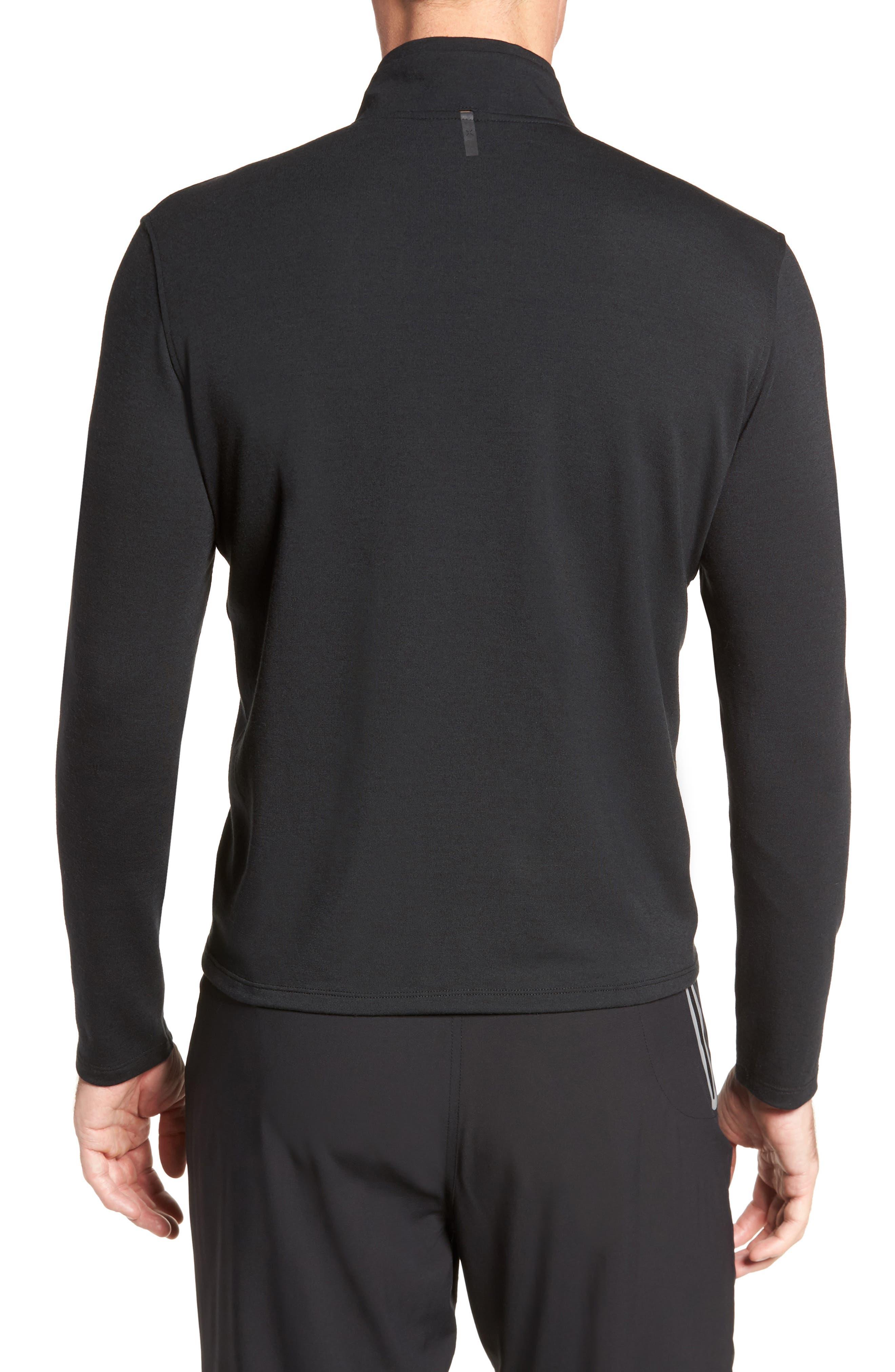 Distance Quarter Zip Pullover,                             Alternate thumbnail 2, color,                             Black