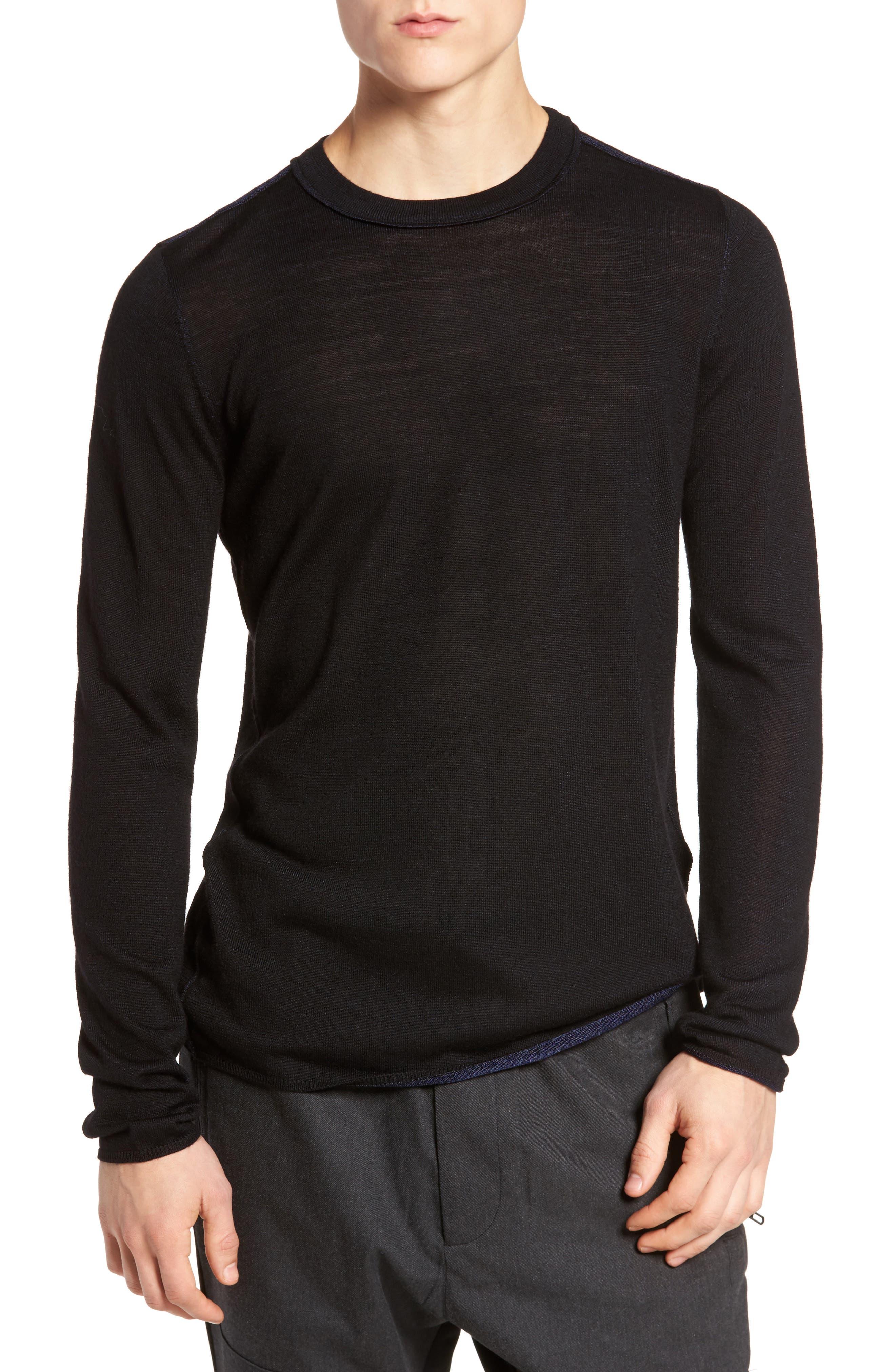 Crewneck Wool Blend Sweater,                         Main,                         color, Black