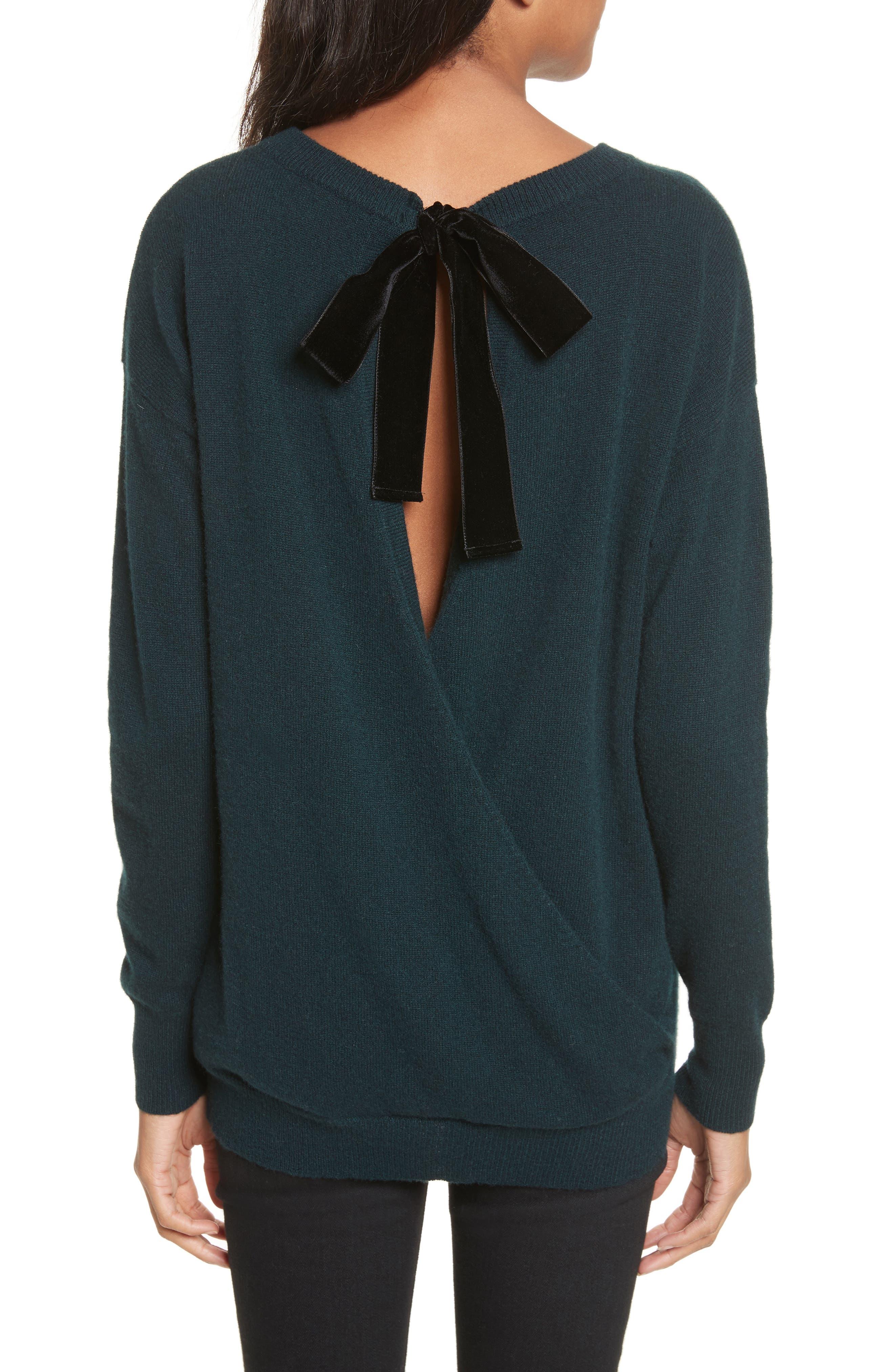 Velvet Tie Cashmere Sweater,                             Alternate thumbnail 2, color,                             Juniper