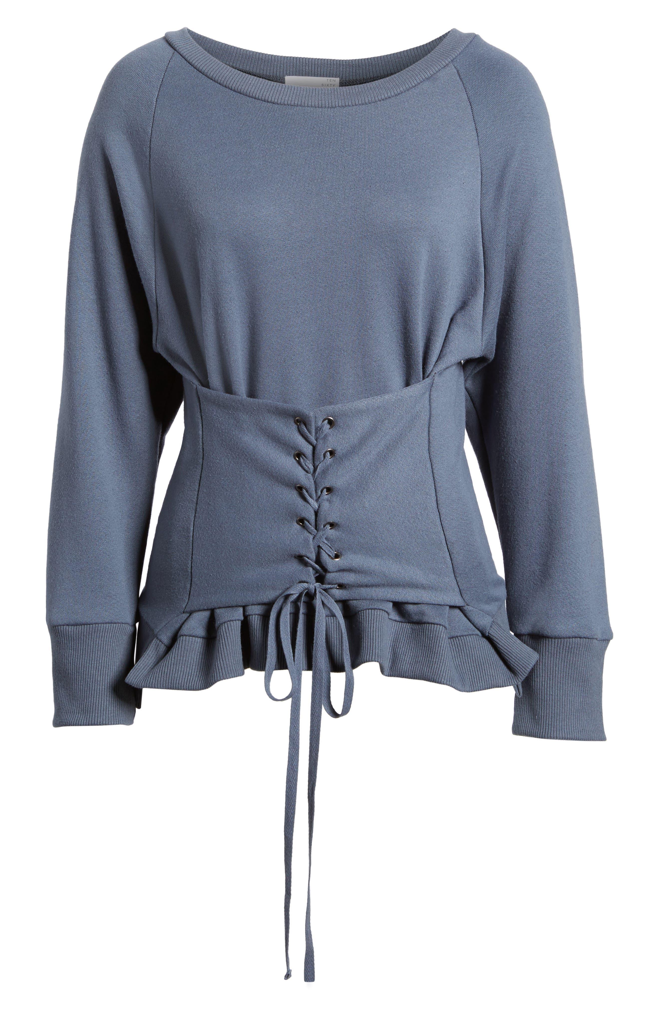 Corset Sweatshirt,                             Alternate thumbnail 6, color,                             Steel