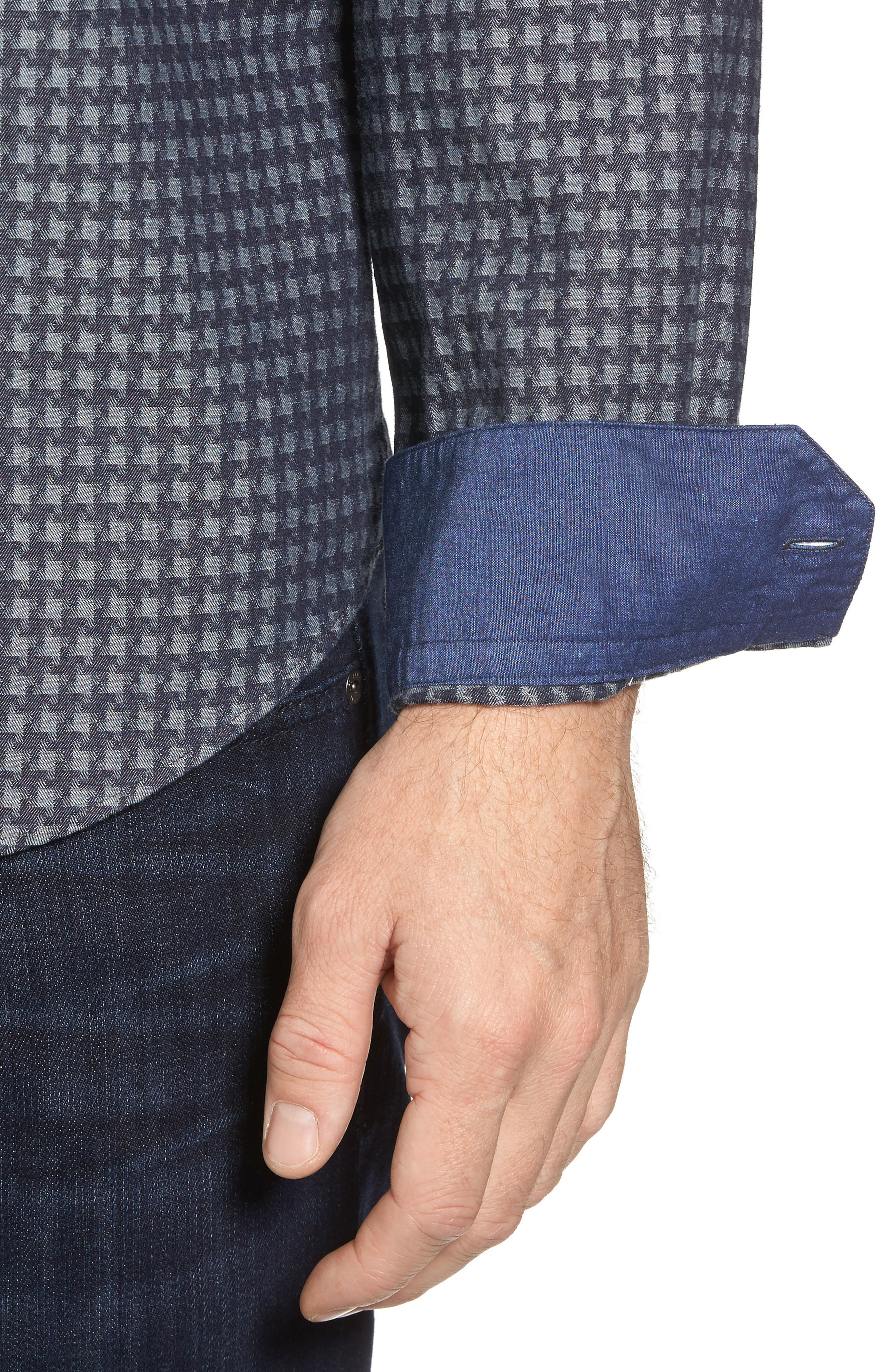 Shaped Fit Houndstooth Print Sport Shirt,                             Alternate thumbnail 4, color,                             Navy