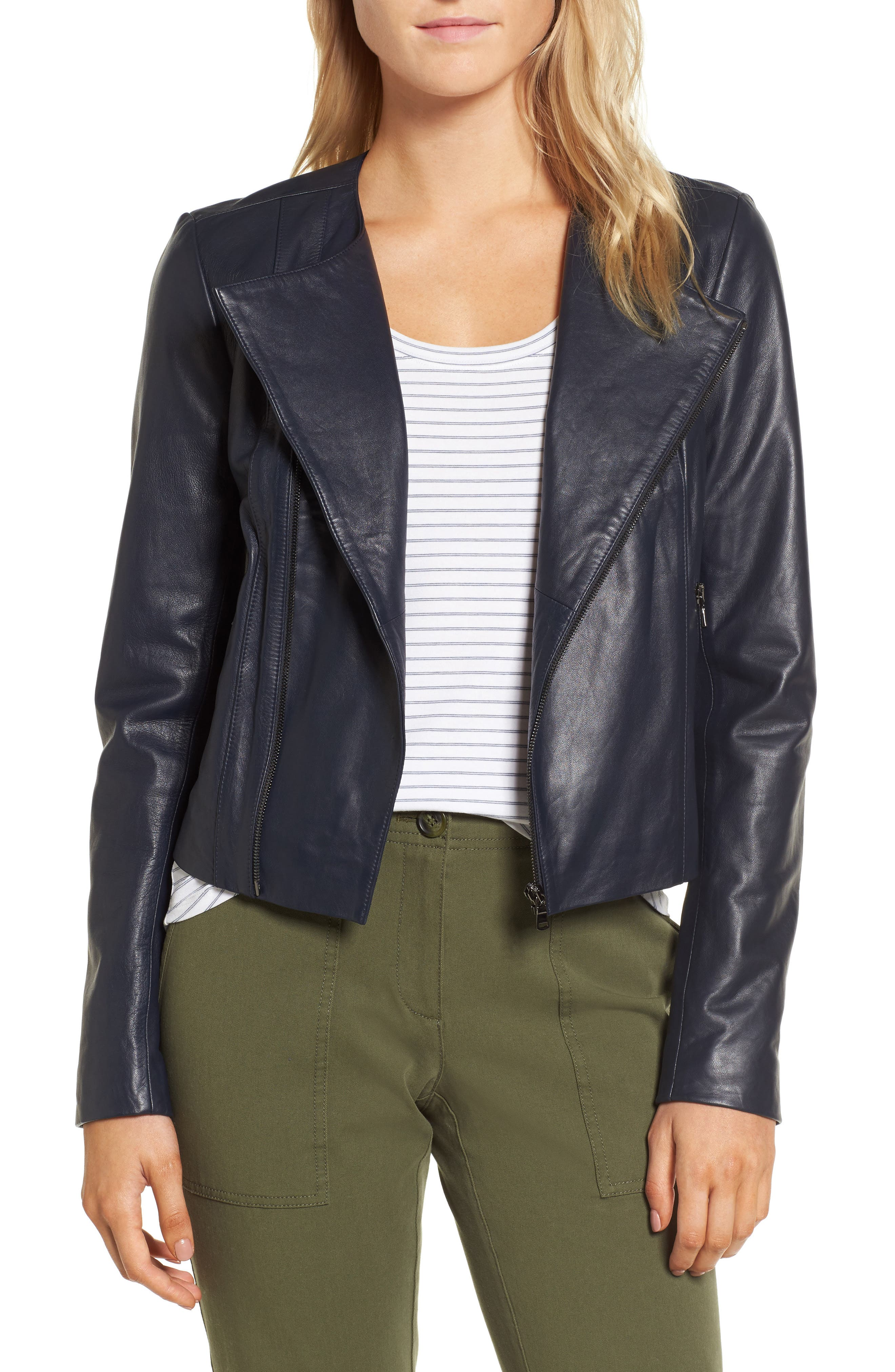 Ruffle Back Leather Jacket,                             Main thumbnail 1, color,                             Navy Night