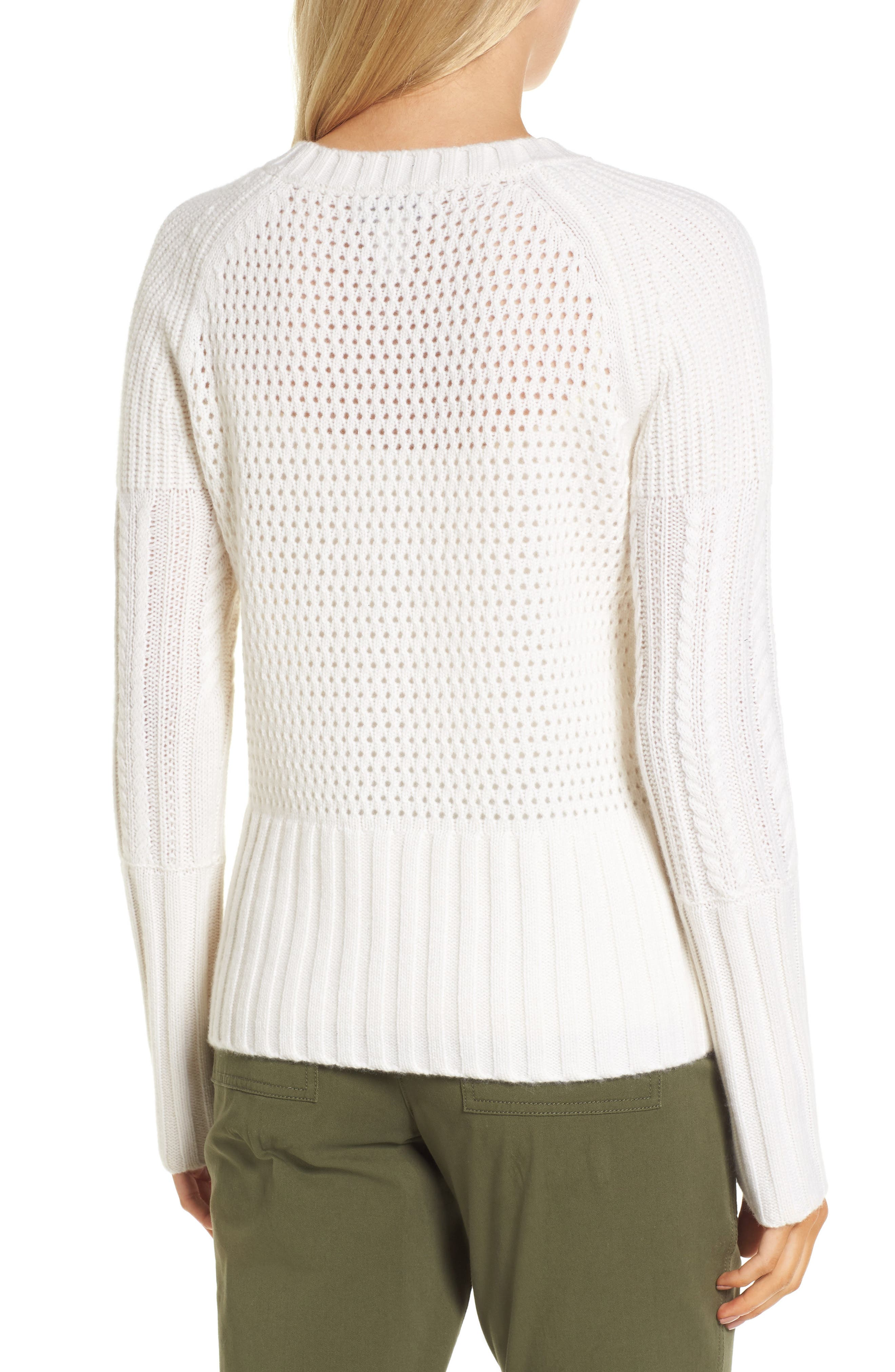 Alternate Image 2  - Nordstrom Signature Mixed Stitch Cashmere Sweater